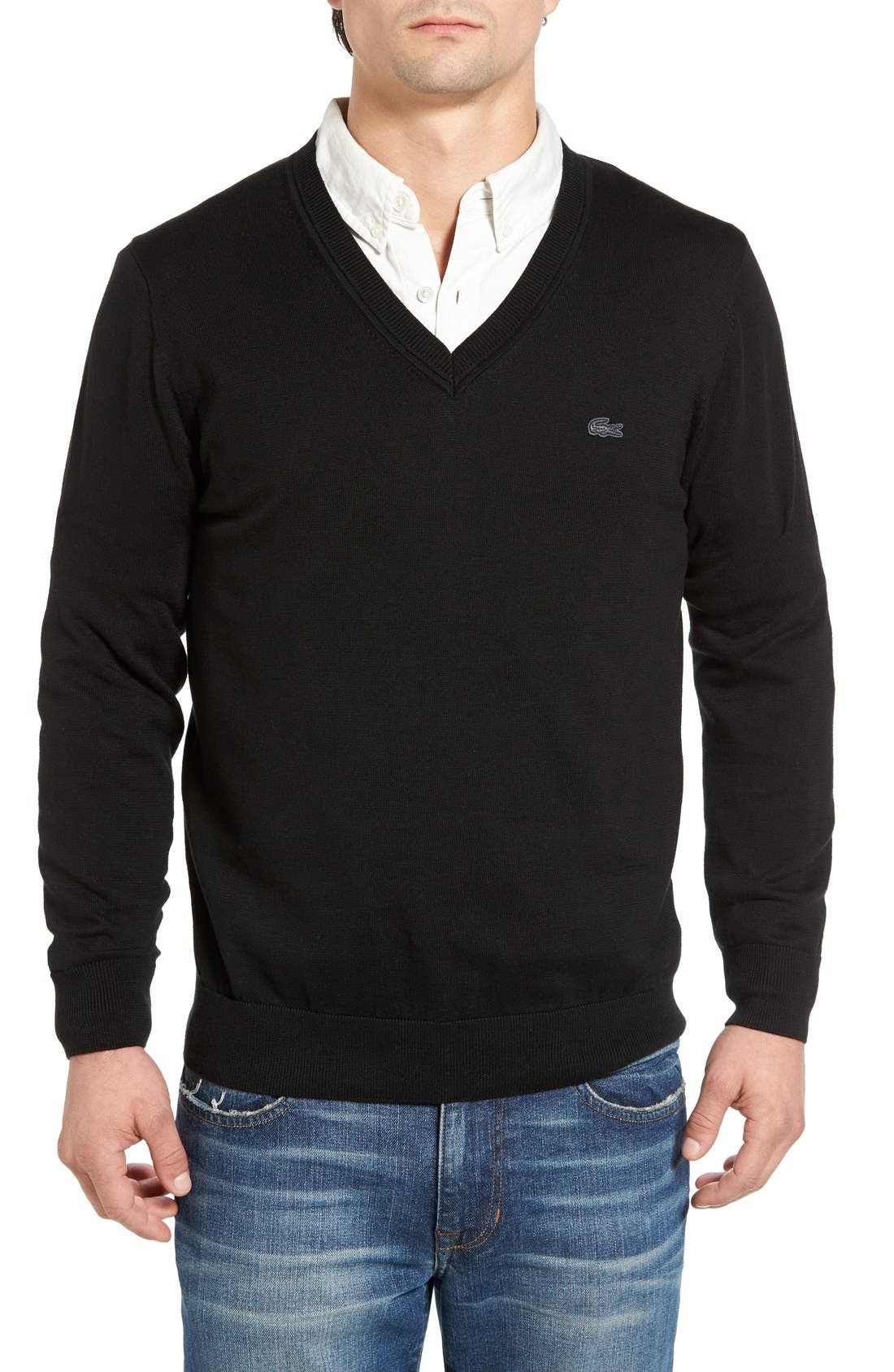 Cotton Jersey V-Neck Sweater,                             Main thumbnail 3, color,