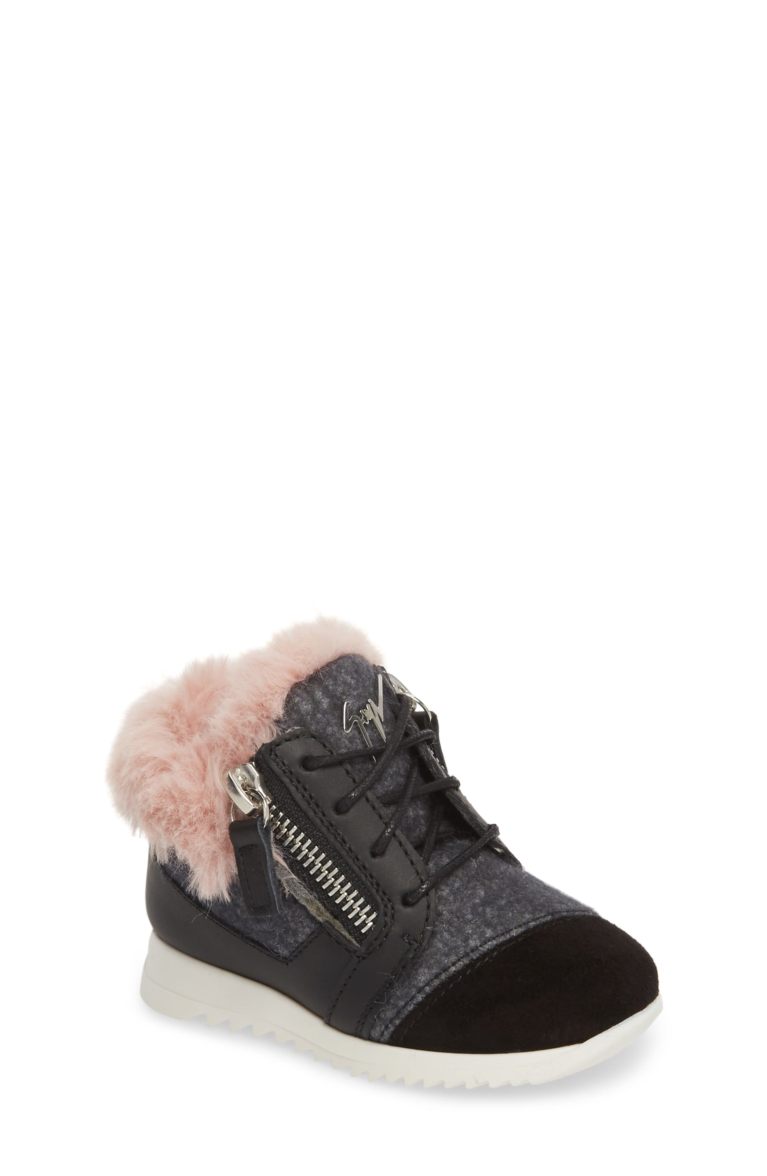 Logobal Mono Gomma Sneaker,                             Main thumbnail 1, color,                             BLACK W/ PINK FUR