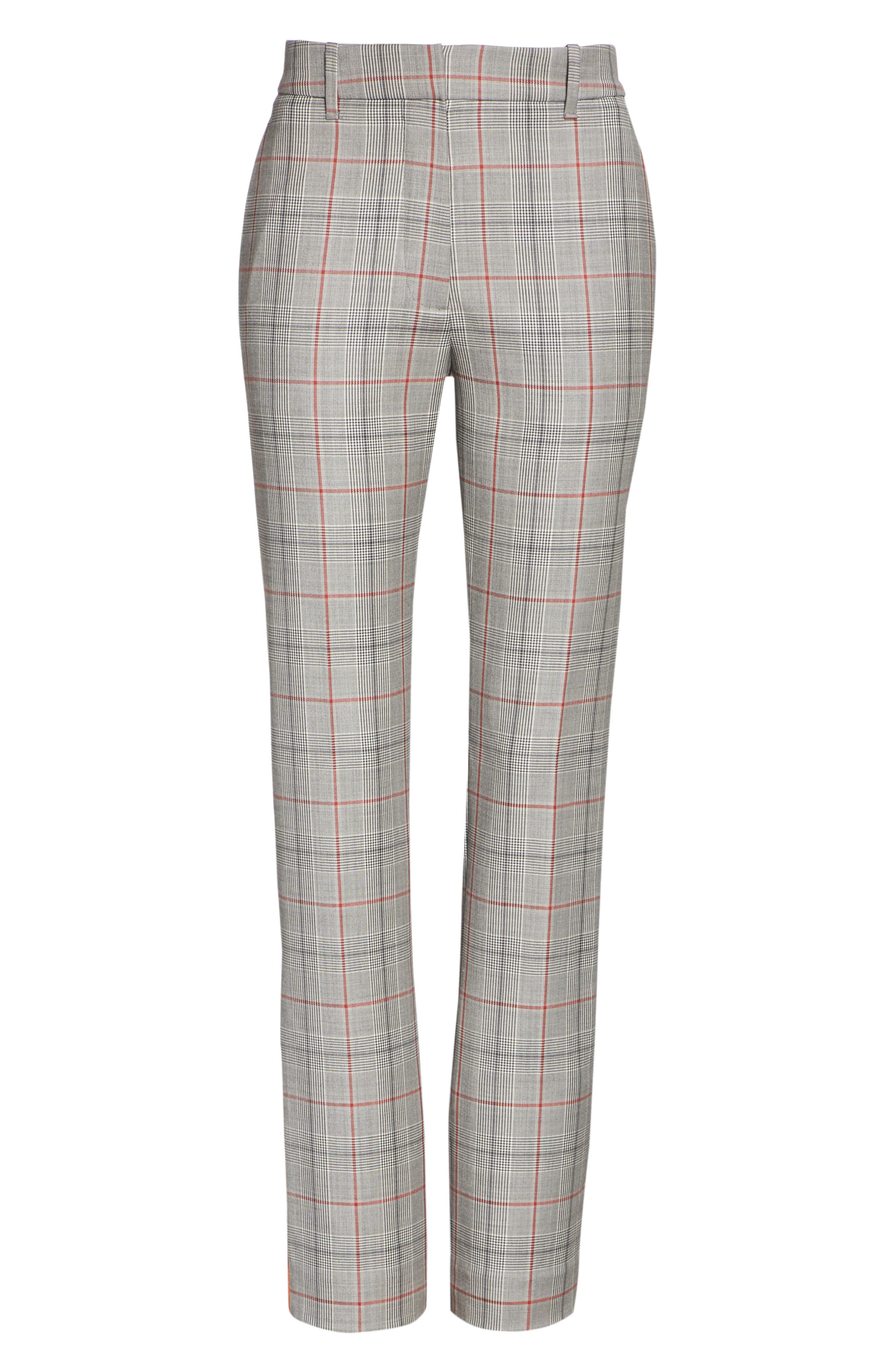 Side Stripe Plaid Wool Pants,                             Alternate thumbnail 6, color,                             BLACK WHITE GRENADINE
