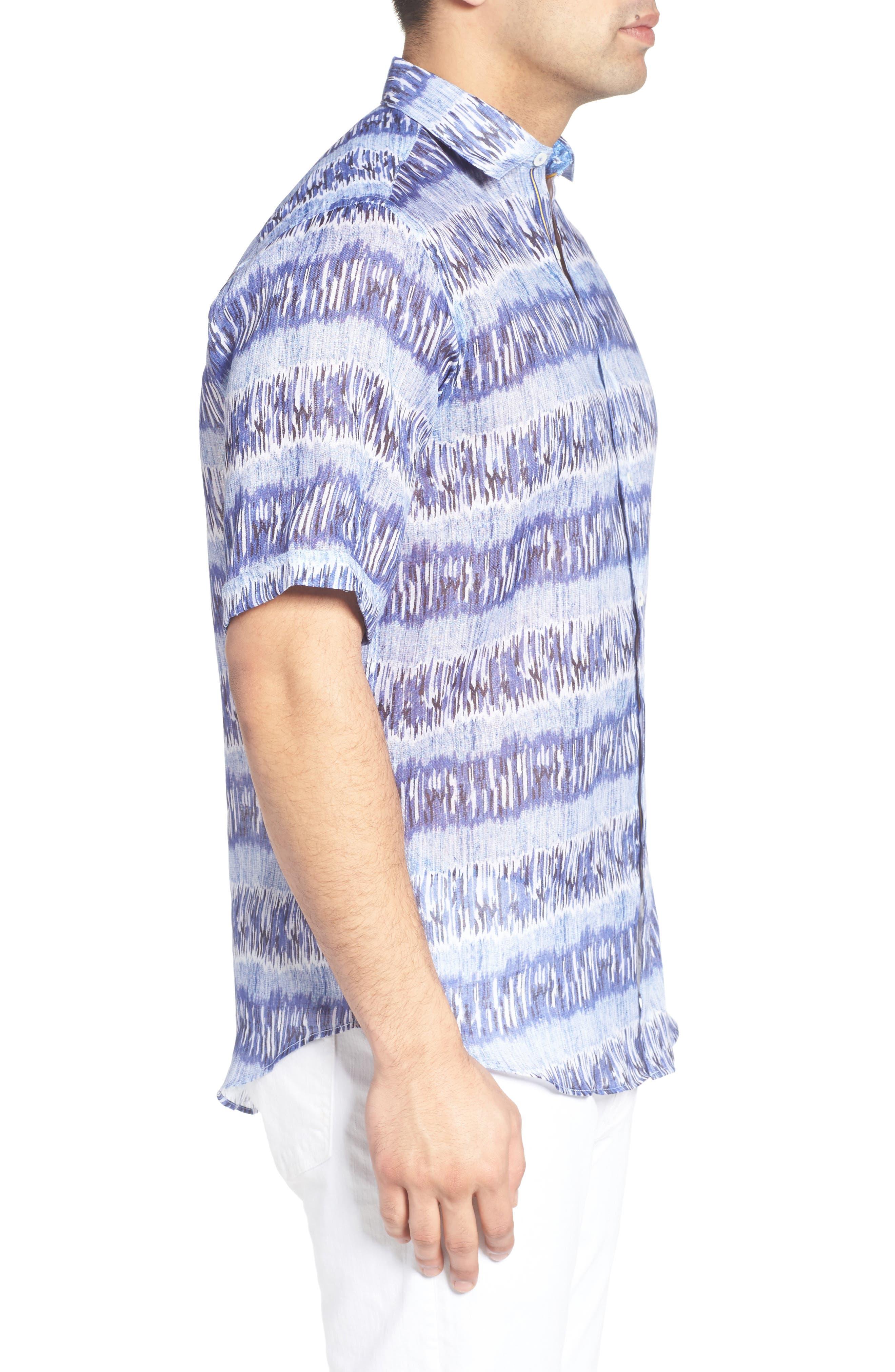 Shaped Fit Print Linen Sport Shirt,                             Alternate thumbnail 3, color,                             422