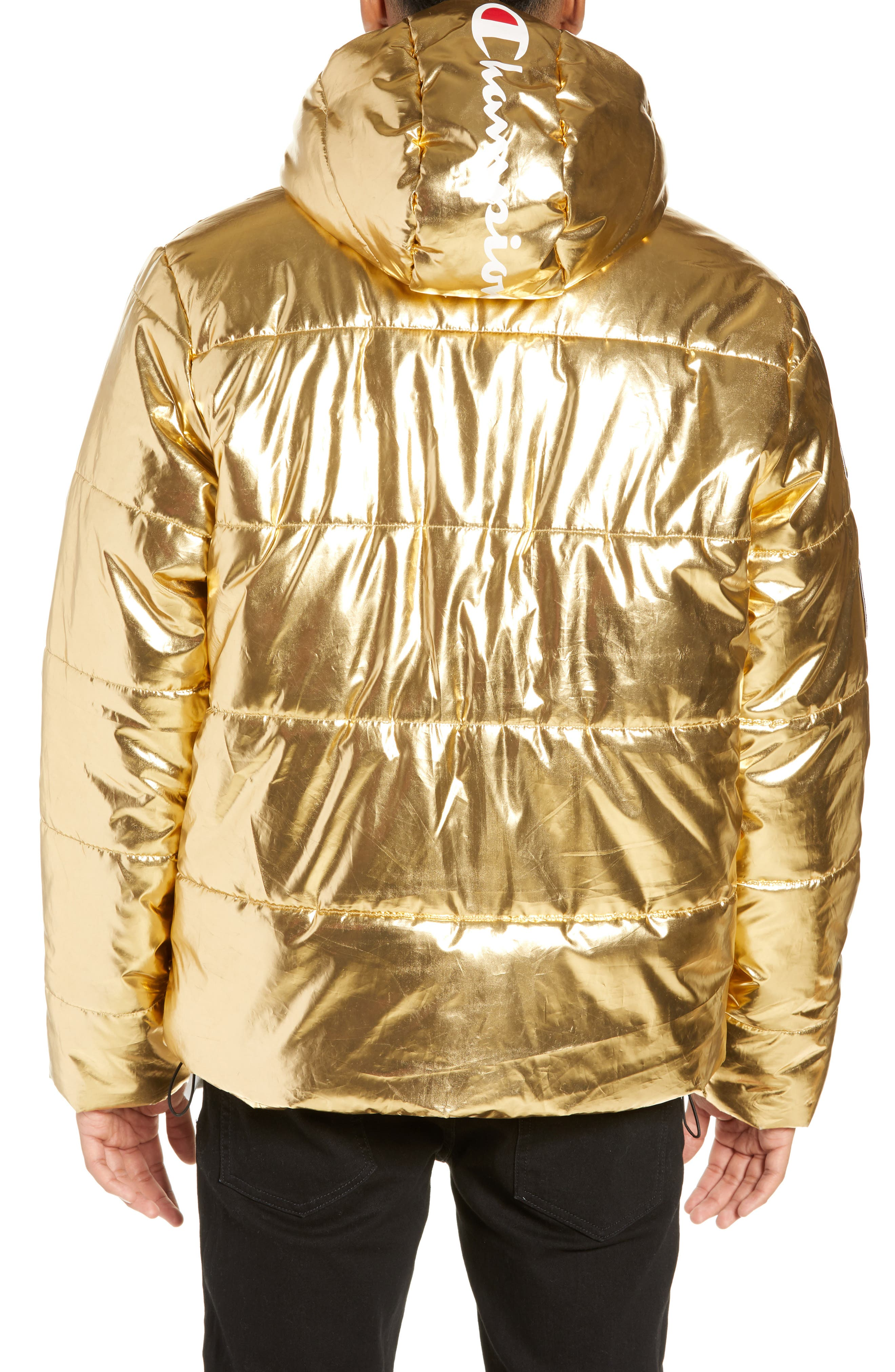 CHAMPION,                             Metallic Puffer Coat,                             Alternate thumbnail 2, color,                             718