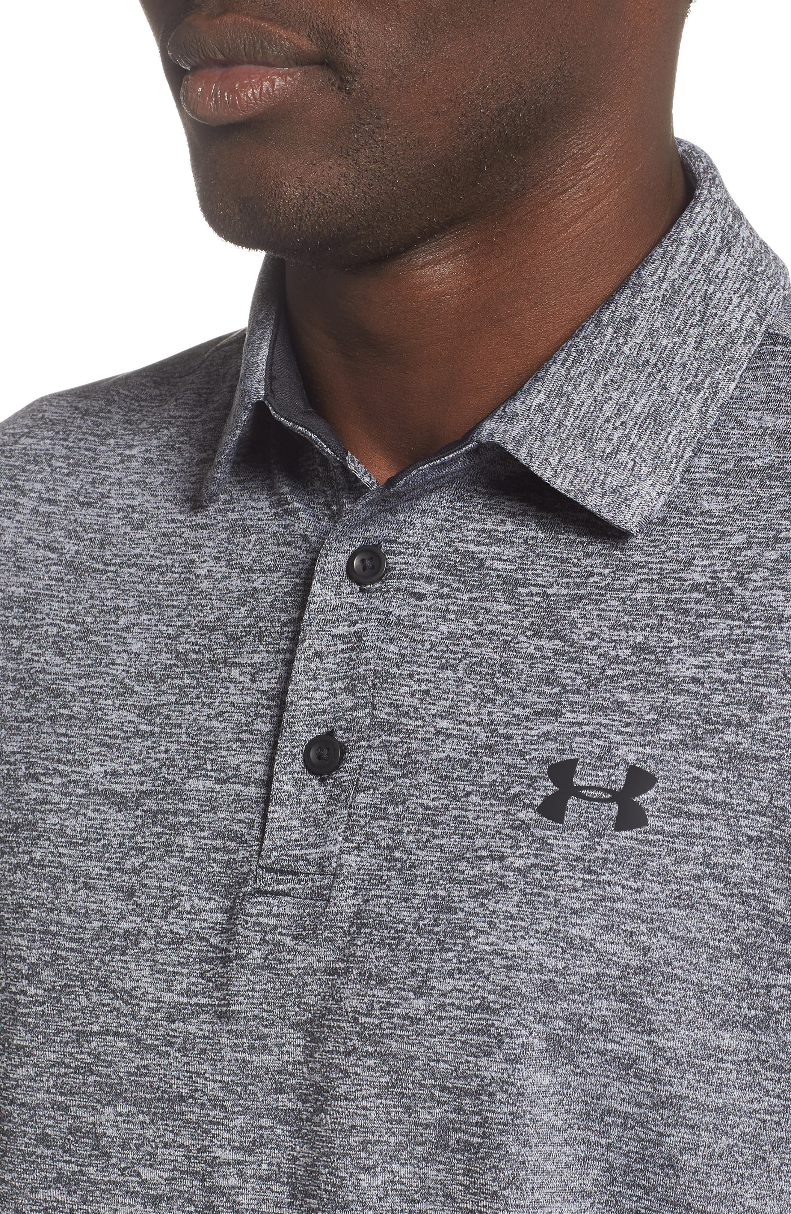UNDER ARMOUR,                             Playoff 2.0 Loose Fit Polo,                             Alternate thumbnail 4, color,                             BLACK / BLACK / BLACK