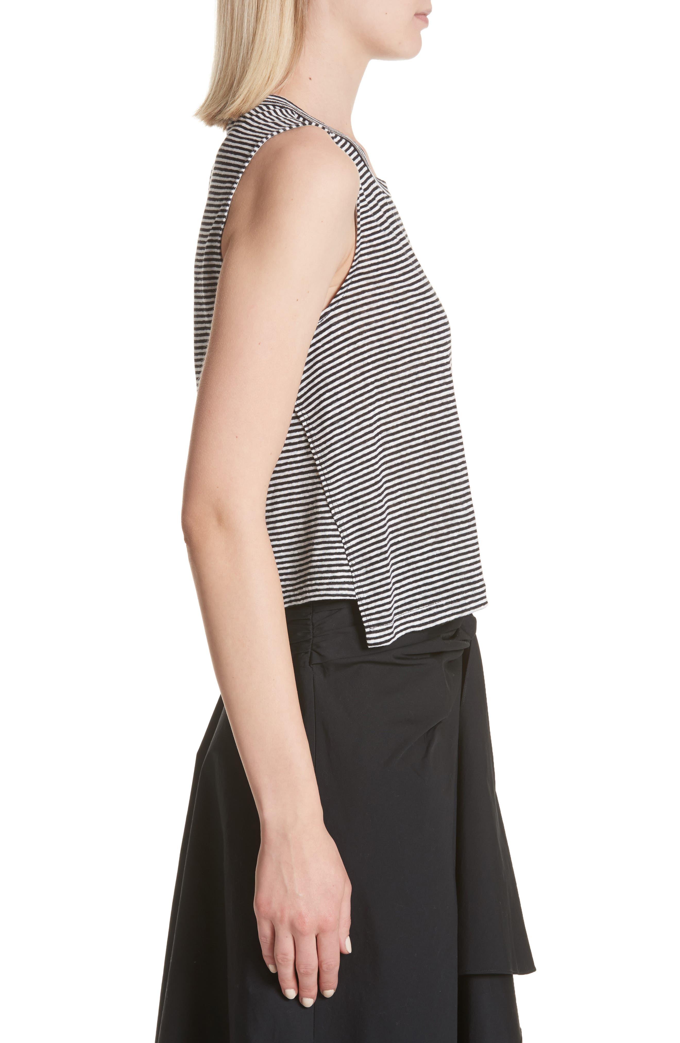 Ines Stripe Linen Crop Tee,                             Alternate thumbnail 3, color,                             BLACK/ WHITE