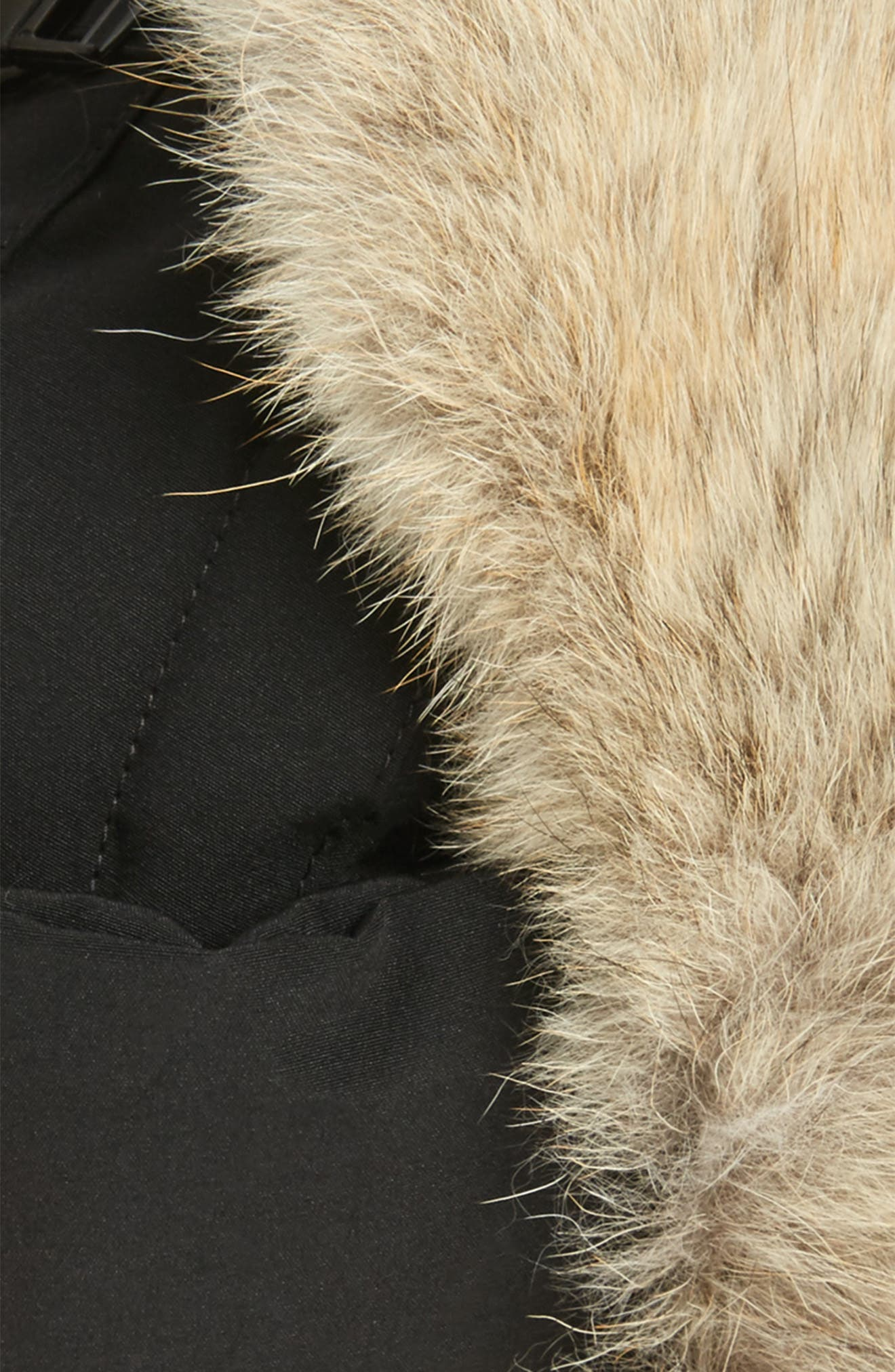 Down Fill Aviator Hat with Genuine Coyote Fur Trim,                             Main thumbnail 1, color,                             BLACK