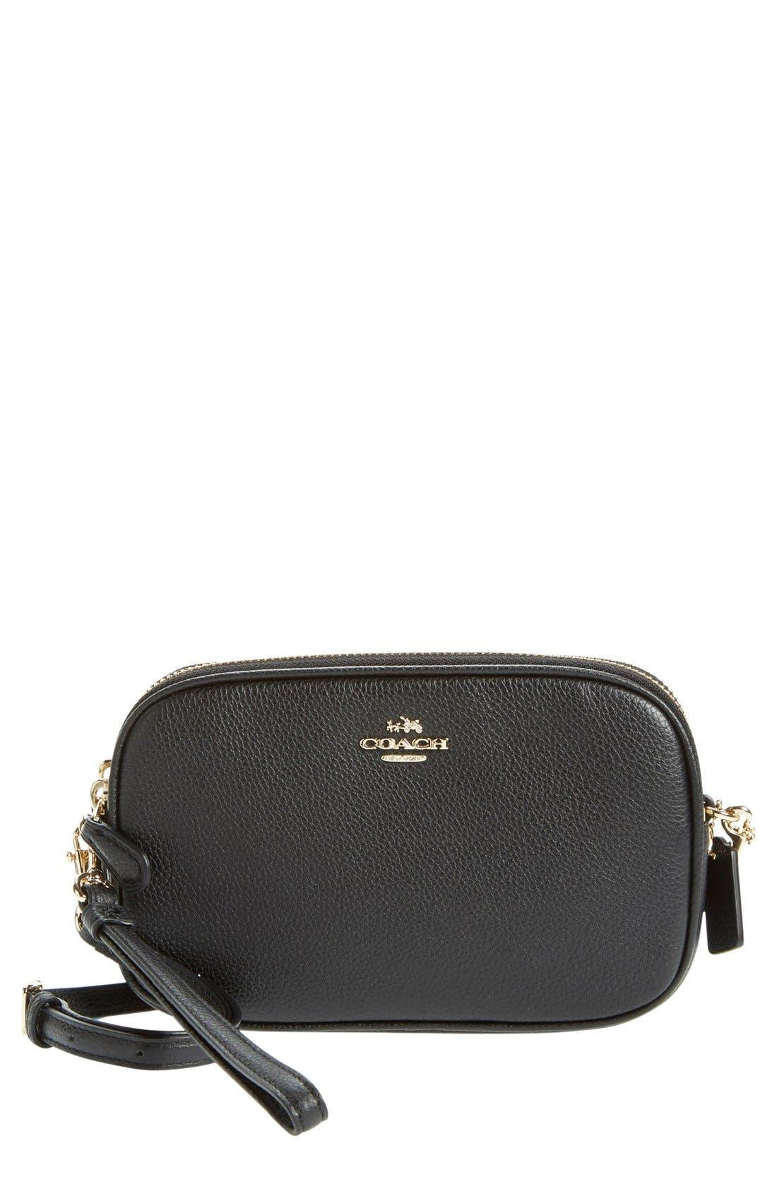 Convertible Leather Crossbody Bag,                             Main thumbnail 1, color,                             001