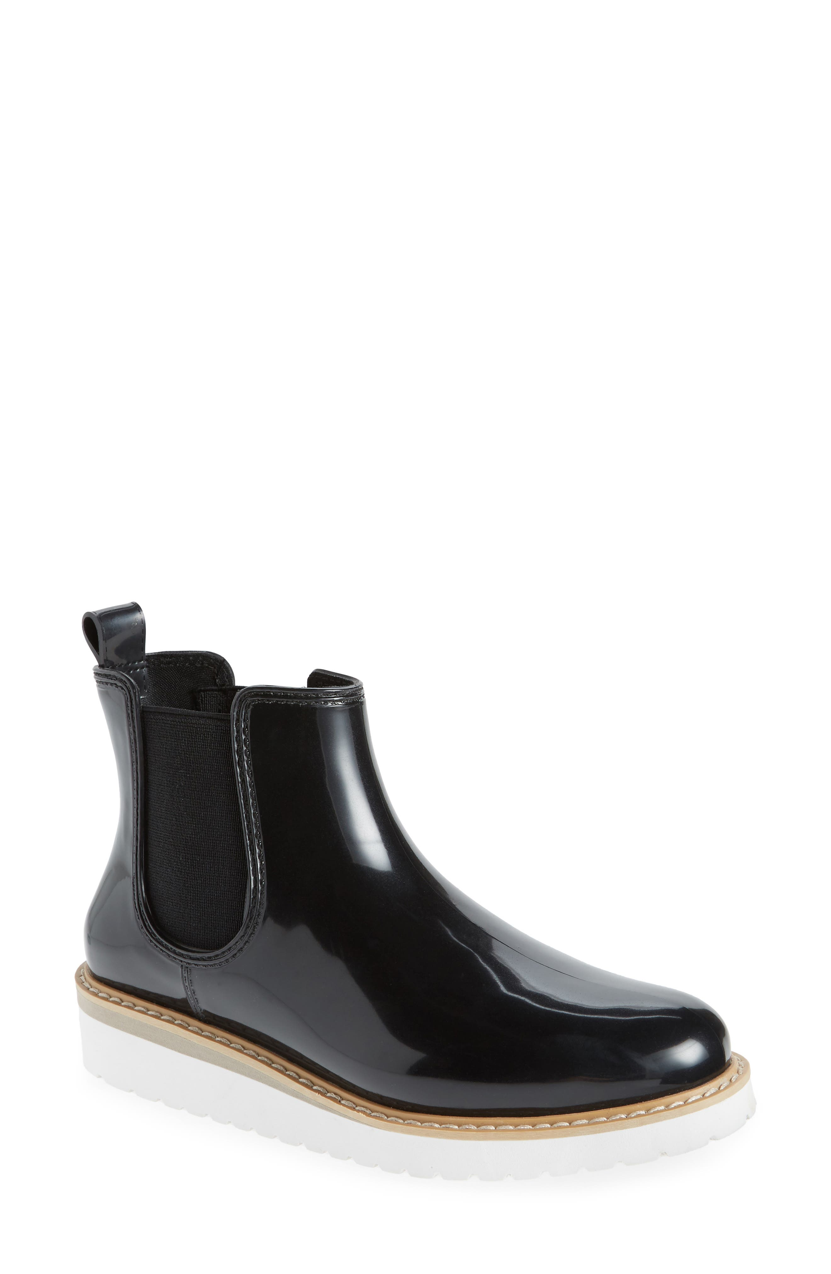 Kensington Chelsea Rain Boot,                             Main thumbnail 1, color,                             BLACK/ WHITE