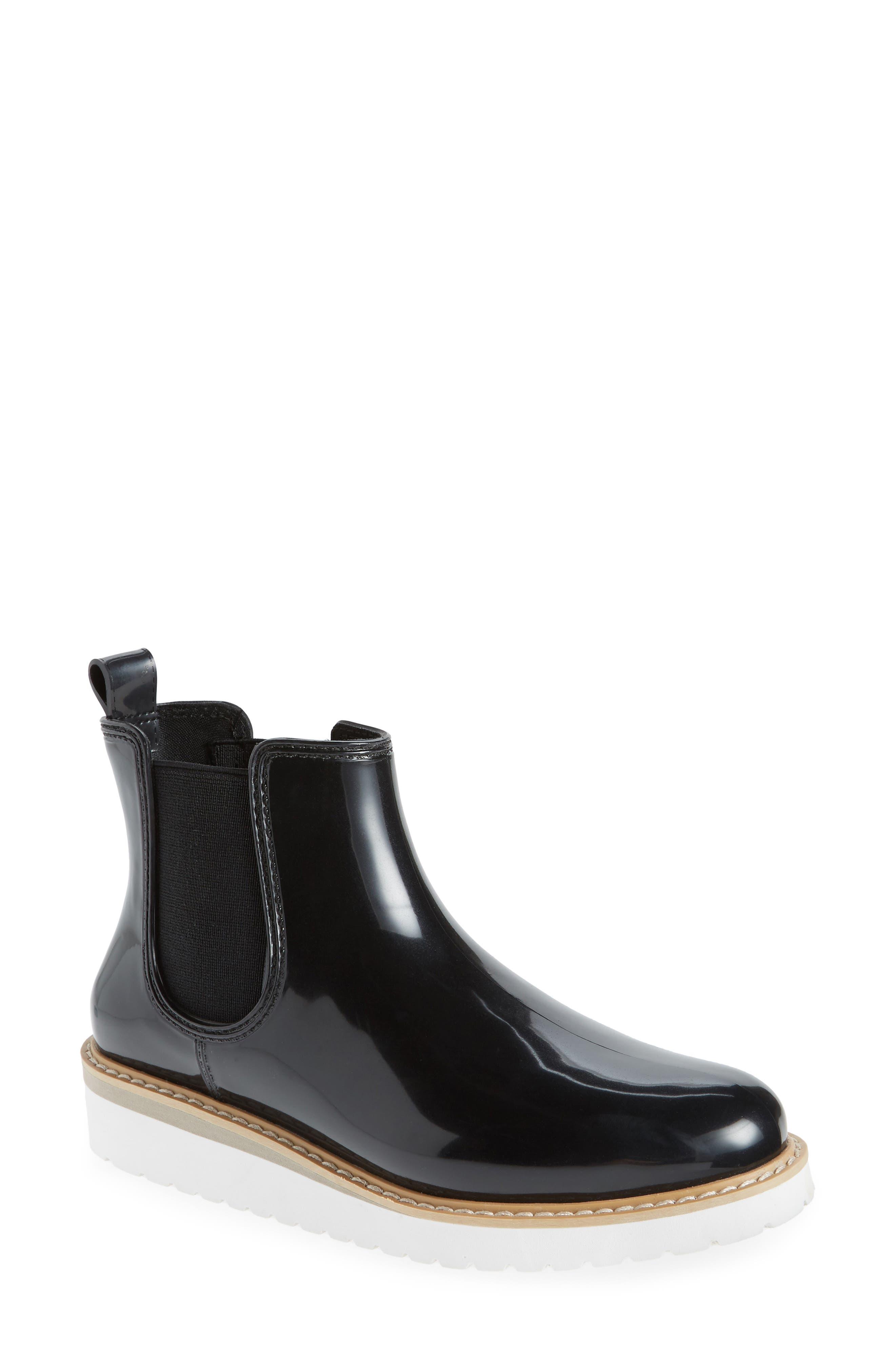 Kensington Chelsea Rain Boot,                         Main,                         color, BLACK/ WHITE