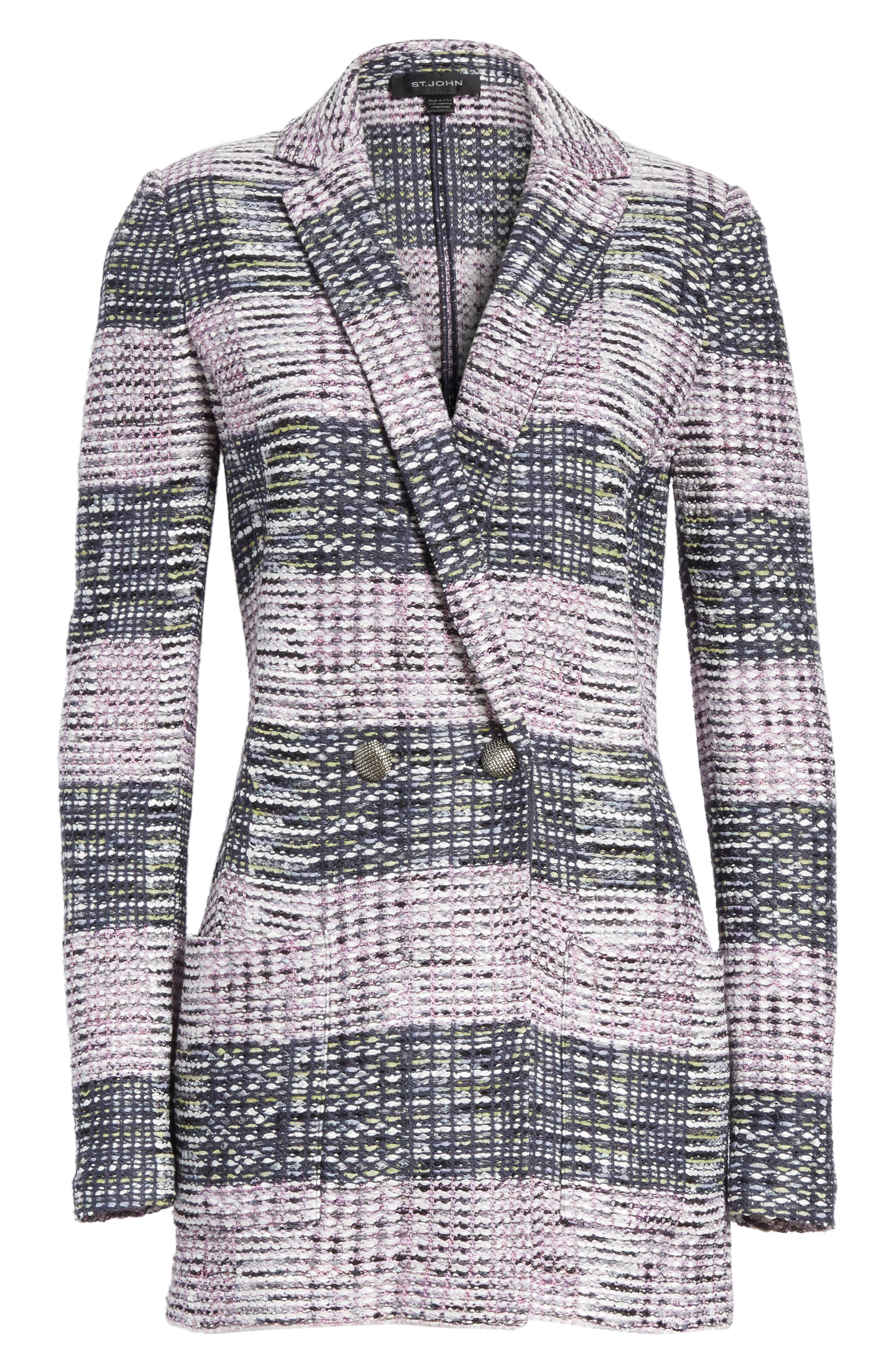 Anna Plaid Double Breasted Blazer,                             Alternate thumbnail 5, color,                             020