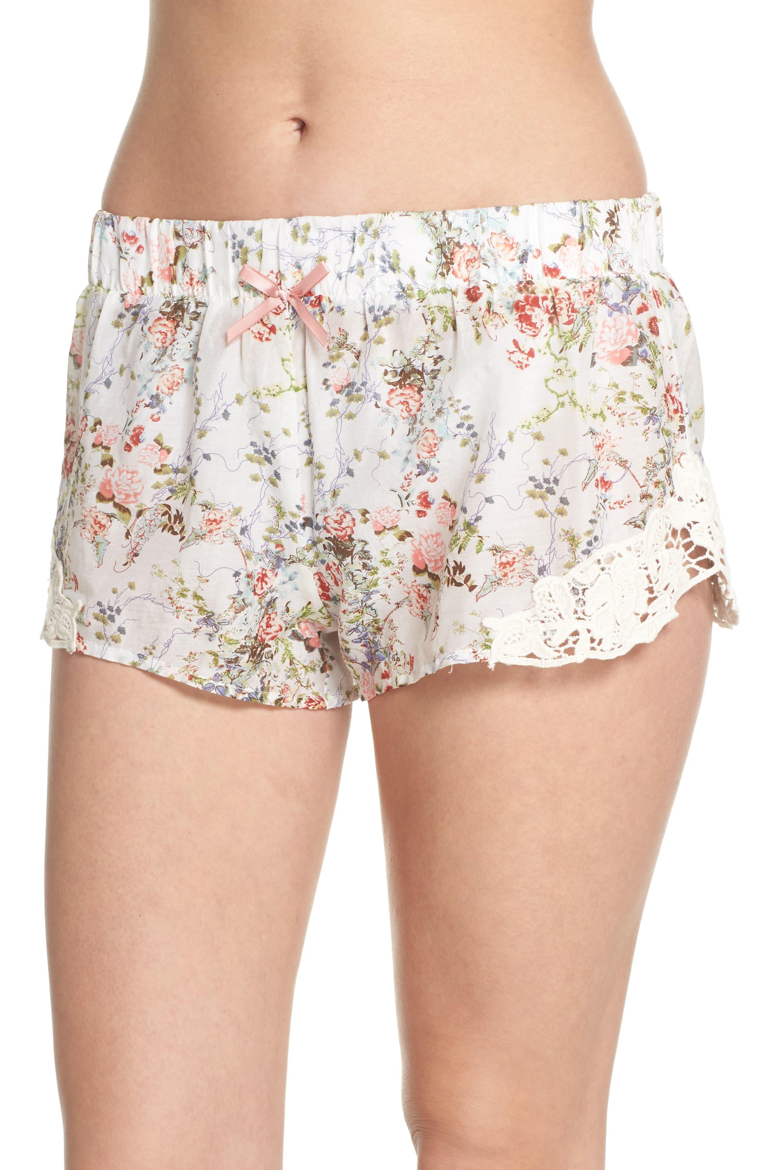 Yolly Floral Pajama Shorts,                             Main thumbnail 1, color,                             IVORY FLORAL