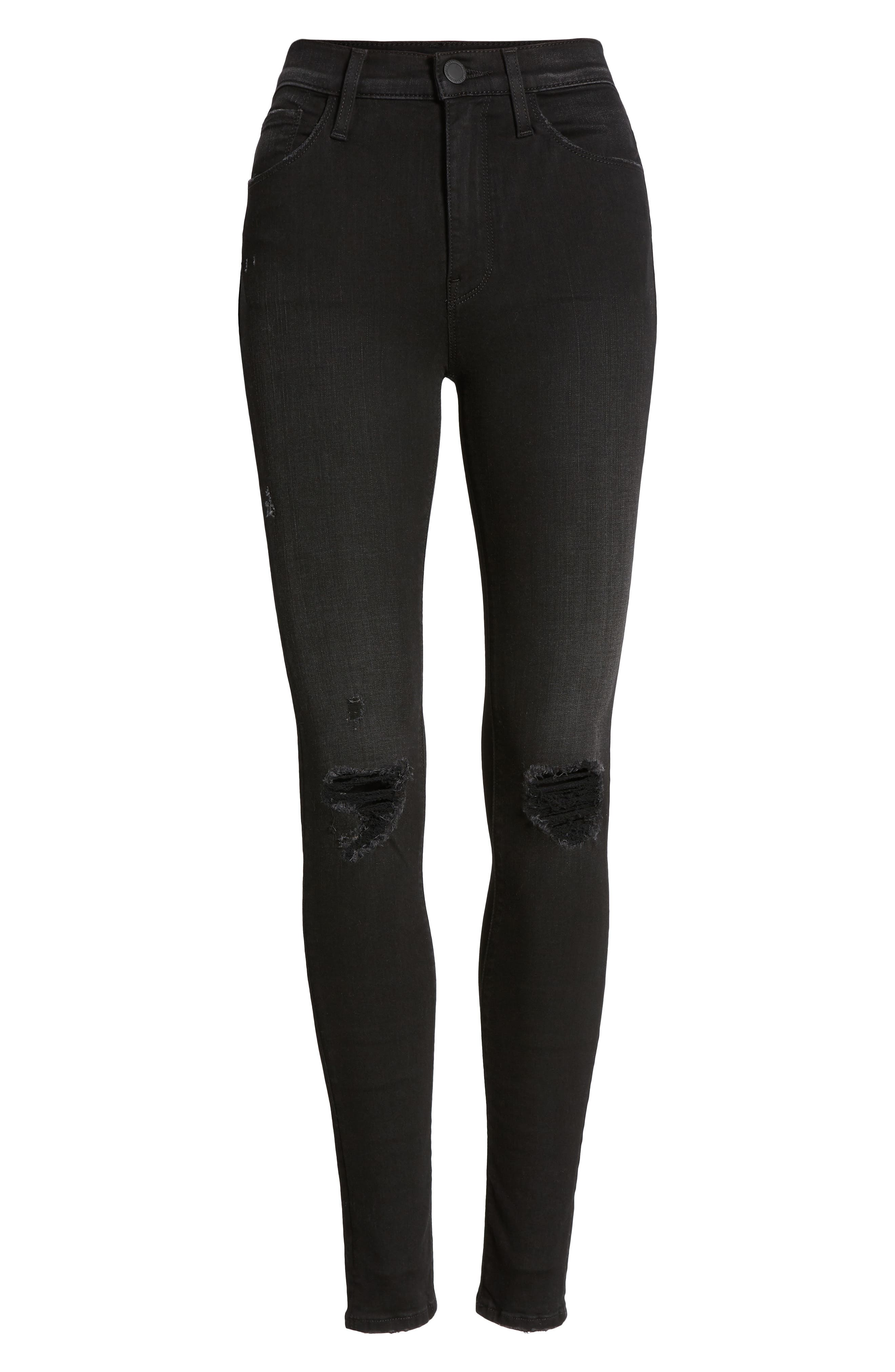 Barbara Ripped High Waist Super Skinny Jeans,                             Alternate thumbnail 7, color,                             WESTBOUND
