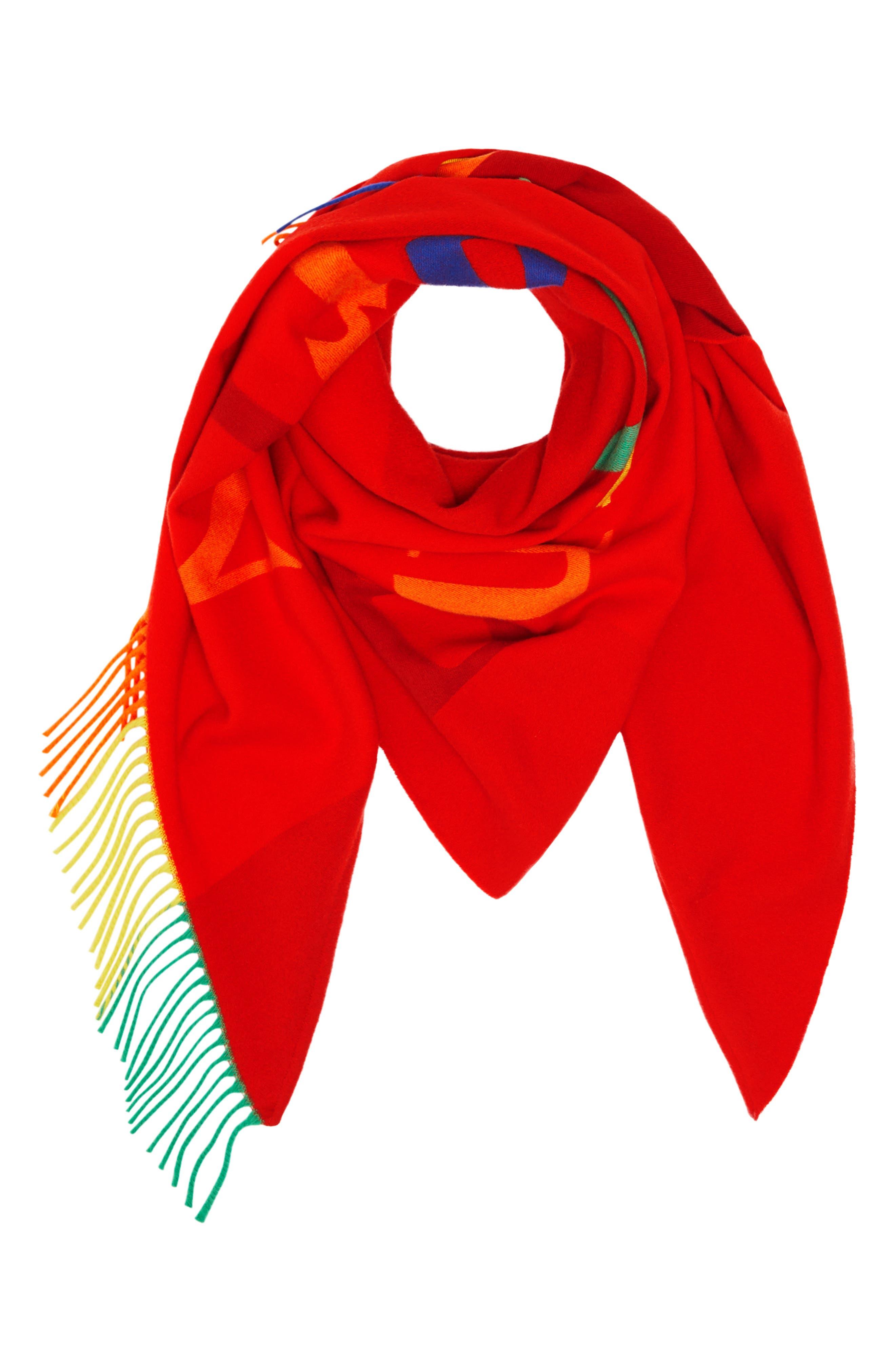 Color Fringe Bandana,                             Alternate thumbnail 3, color,                             BRIGHT RED