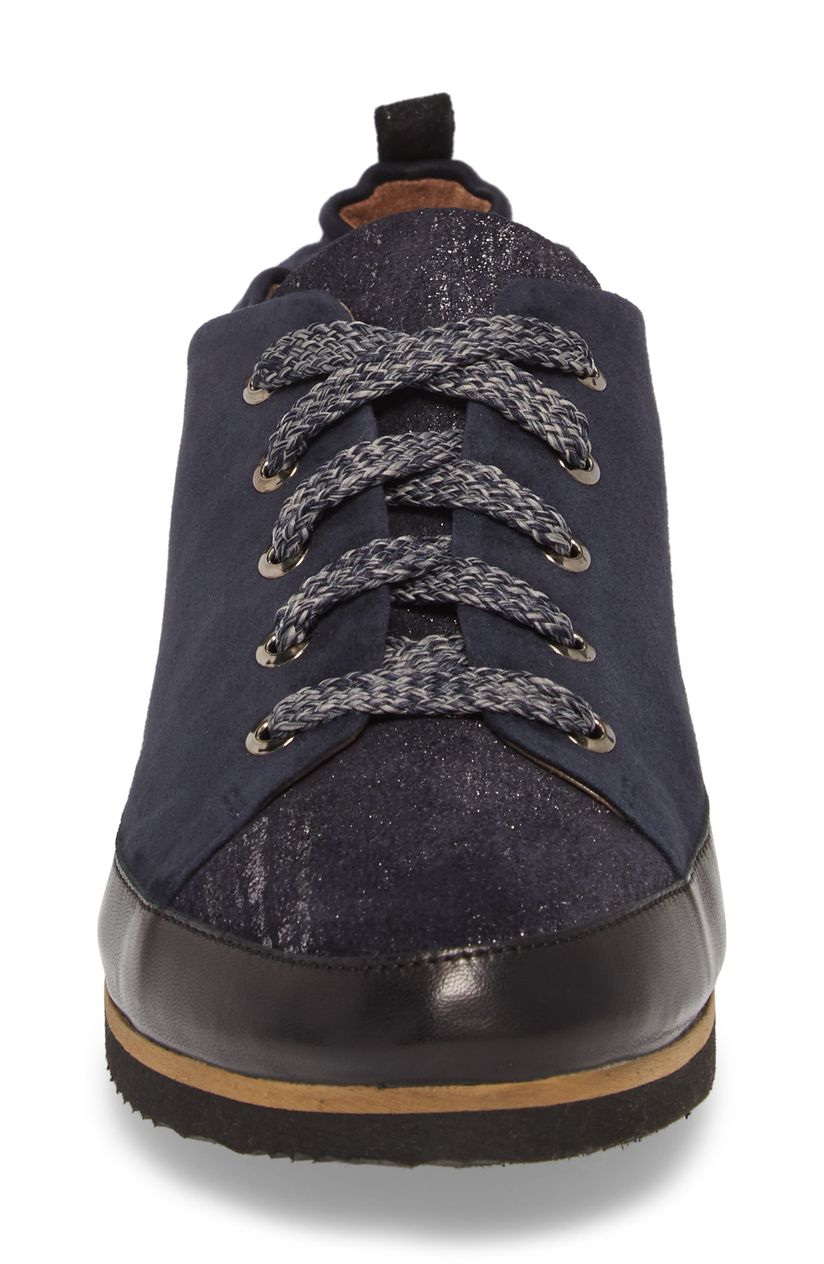 Nettie Lace-Up Wedge Sneaker,                             Alternate thumbnail 4, color,                             FRENCH NAVY LEATHER