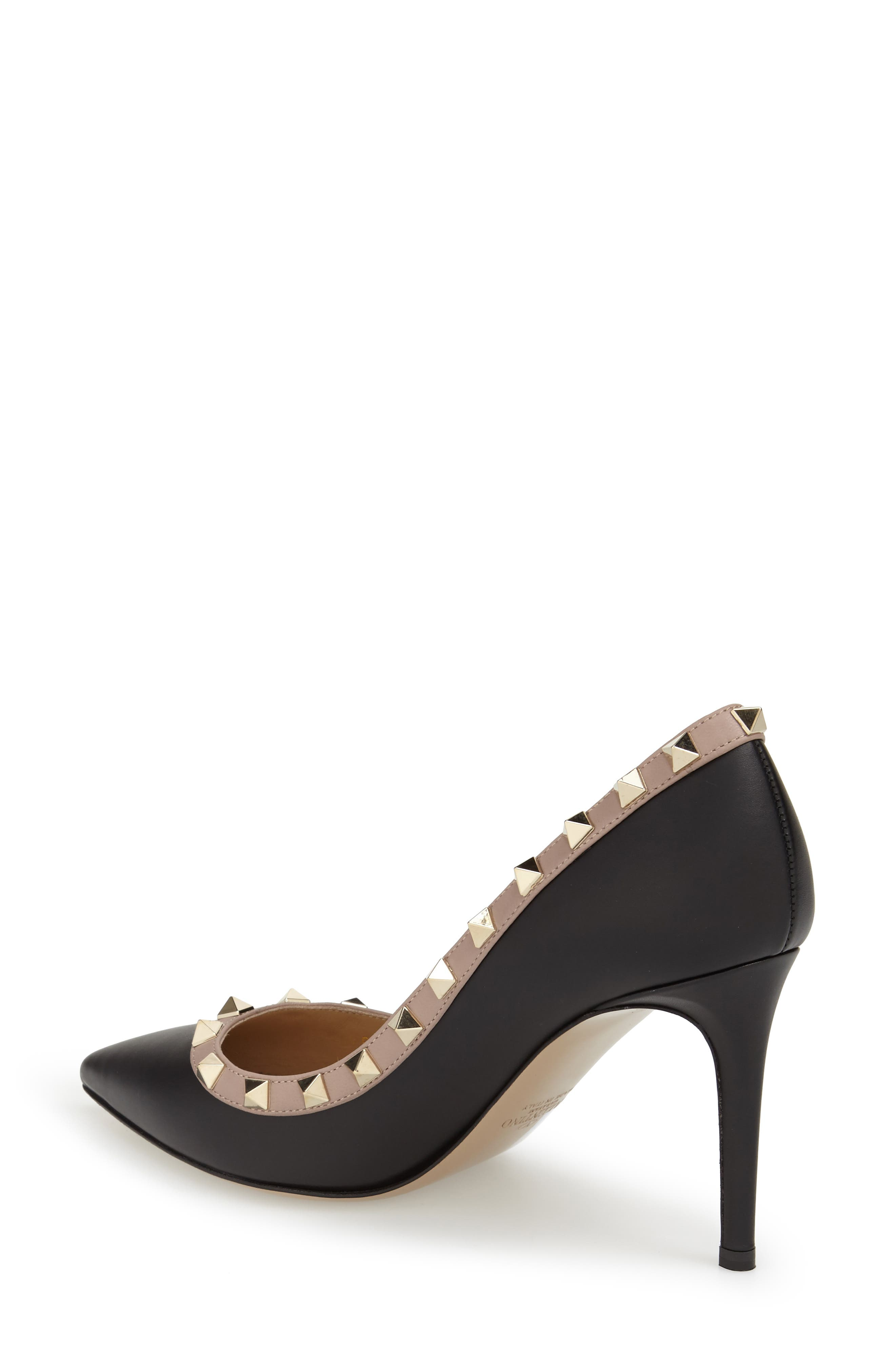 Rockstud Pointy Toe Pump,                             Alternate thumbnail 3, color,                             BLACK LEATHER