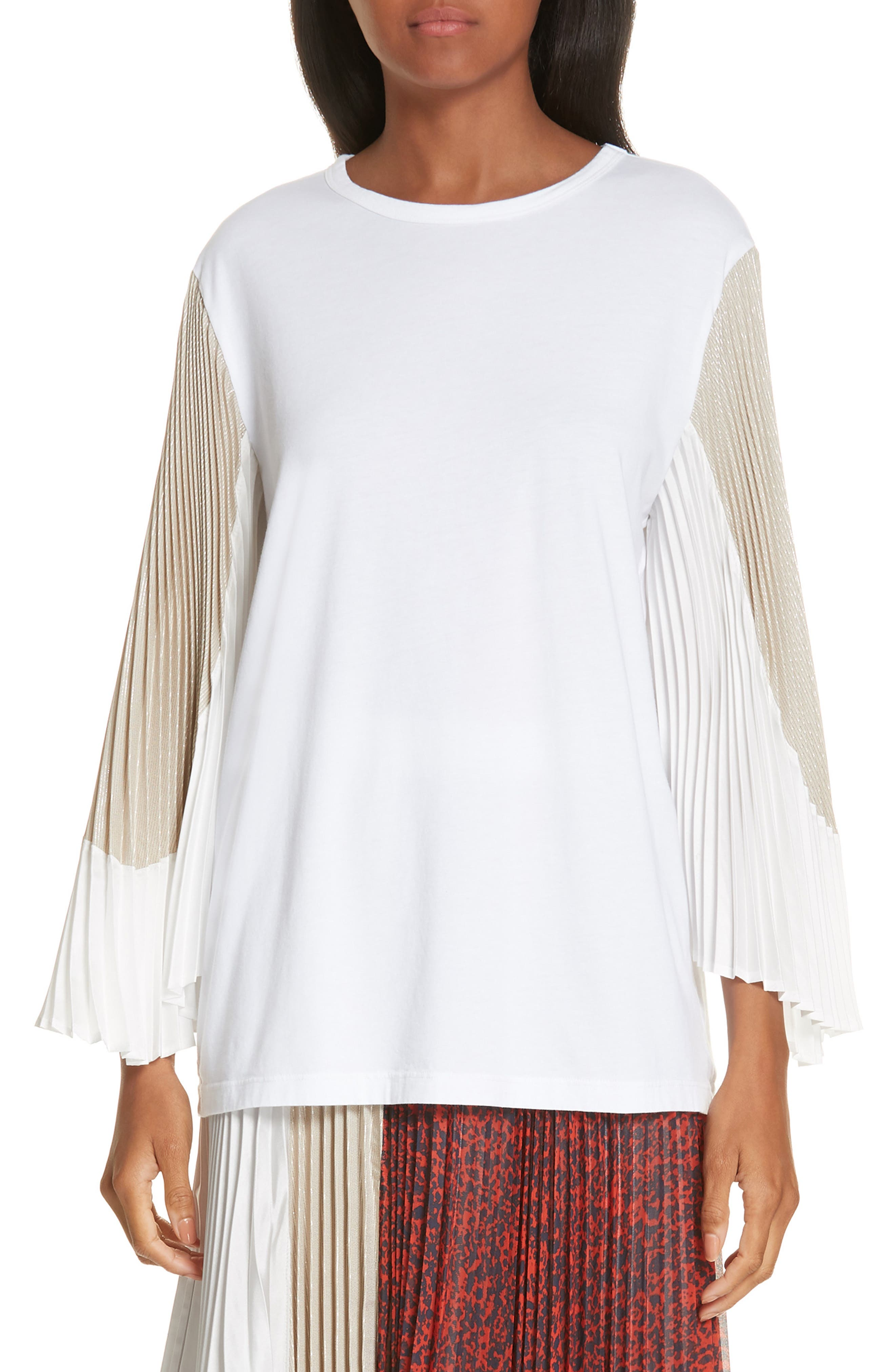 Colorblock Pleated Sleeve Top,                         Main,                         color, WHITE/ WHITE/ METALLIC