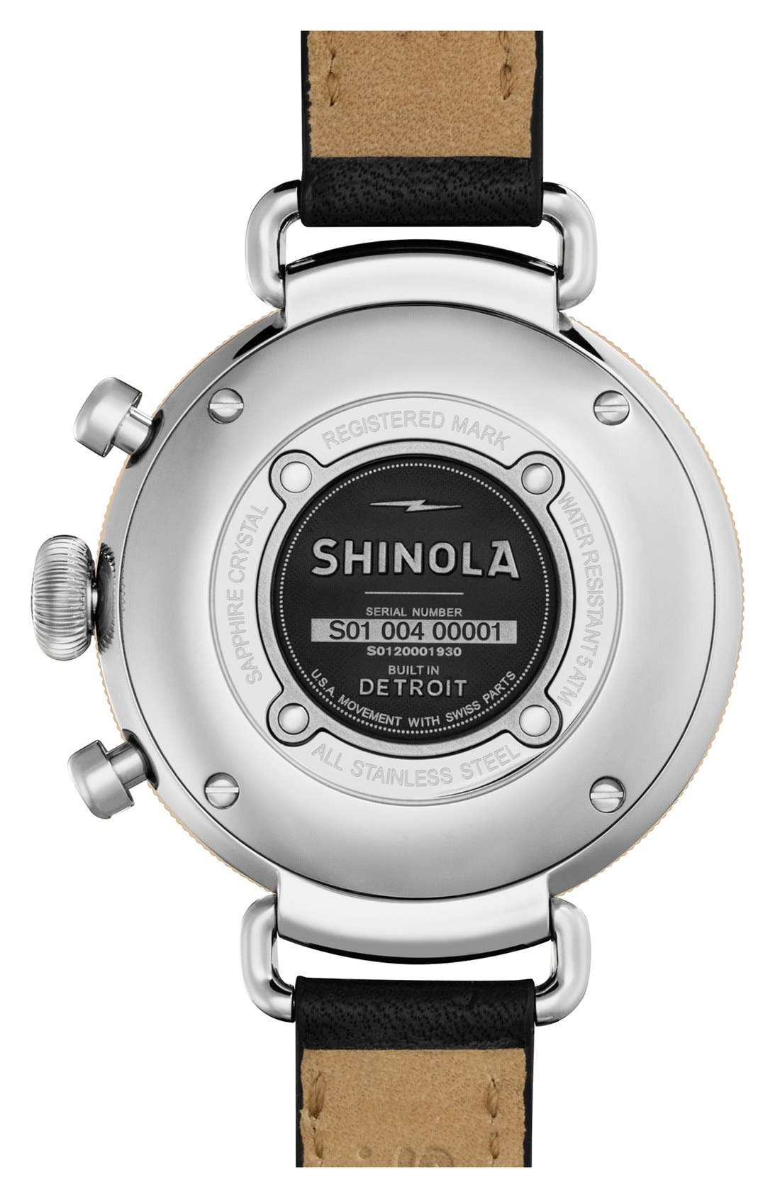 'The Canfield Chrono' Leather Strap Watch, 38mm,                             Alternate thumbnail 2, color,                             BLACK/ WHITE