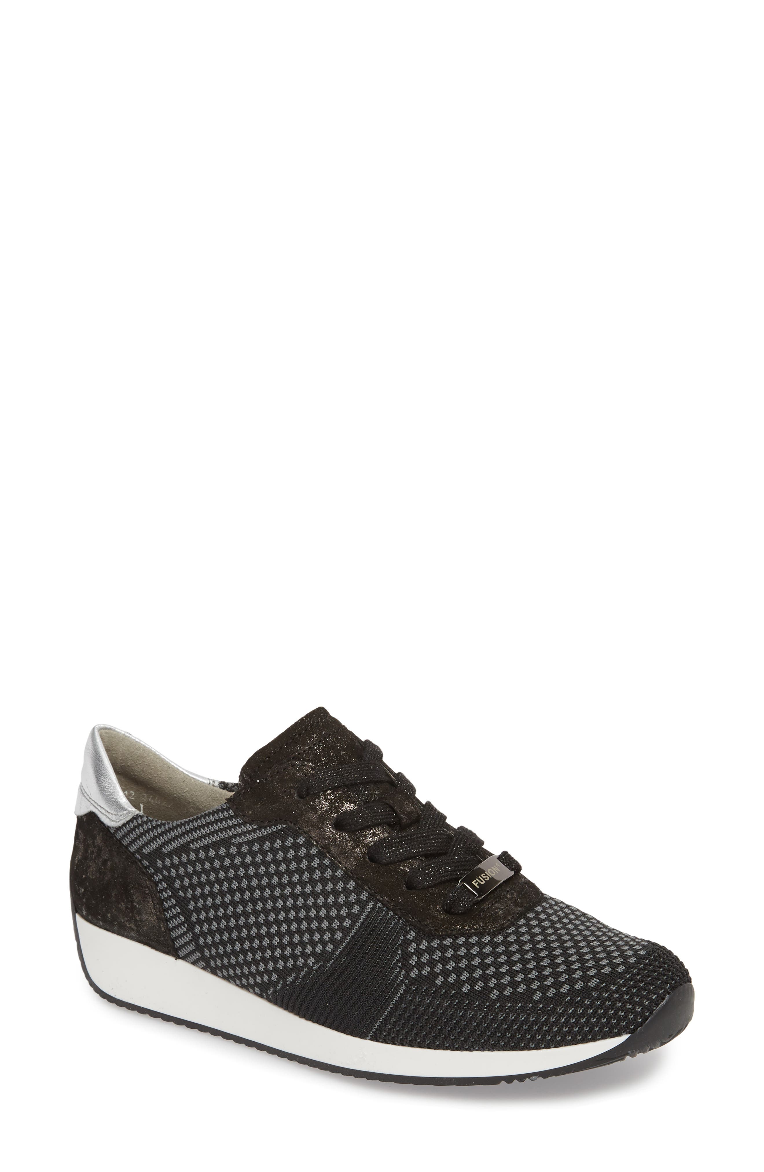 Lilly Sneaker,                             Main thumbnail 1, color,                             BLACK FABRIC