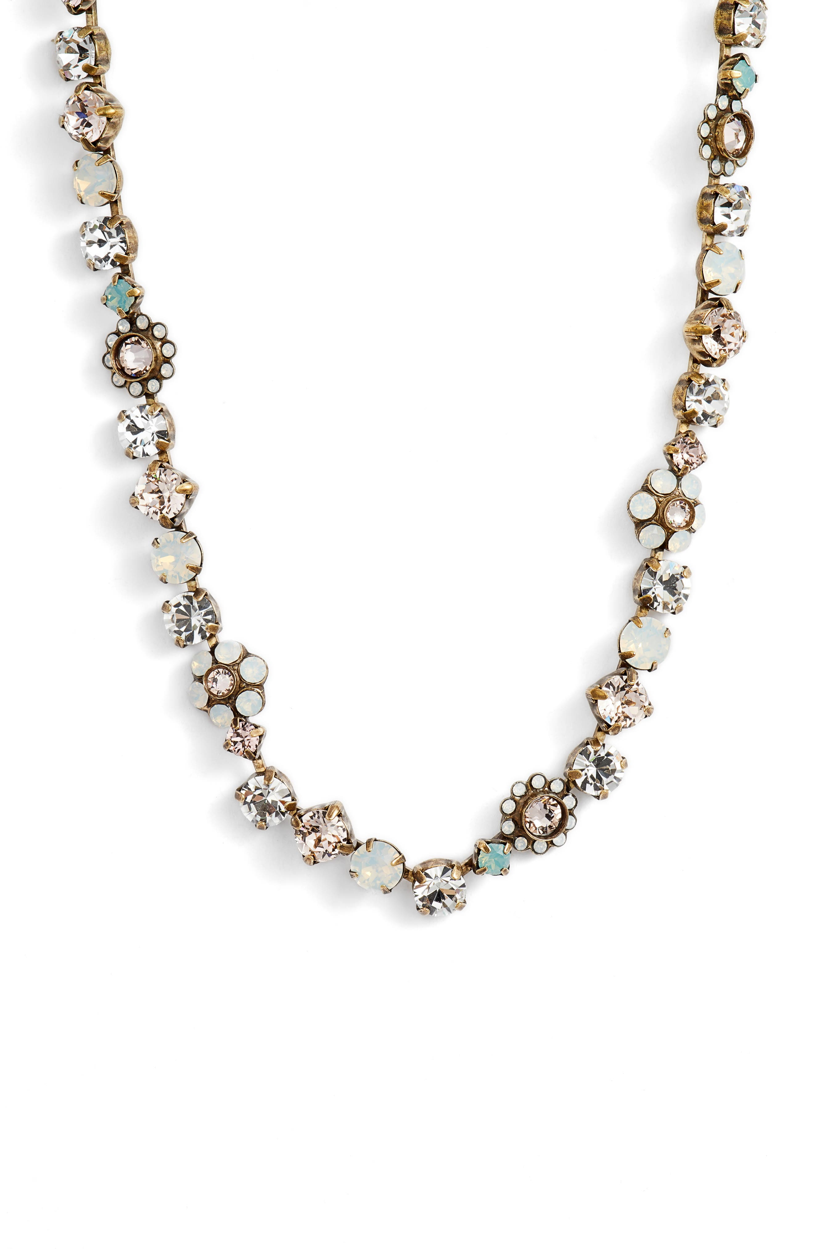 Classic Floral Crystal Necklace,                         Main,                         color, PURPLE