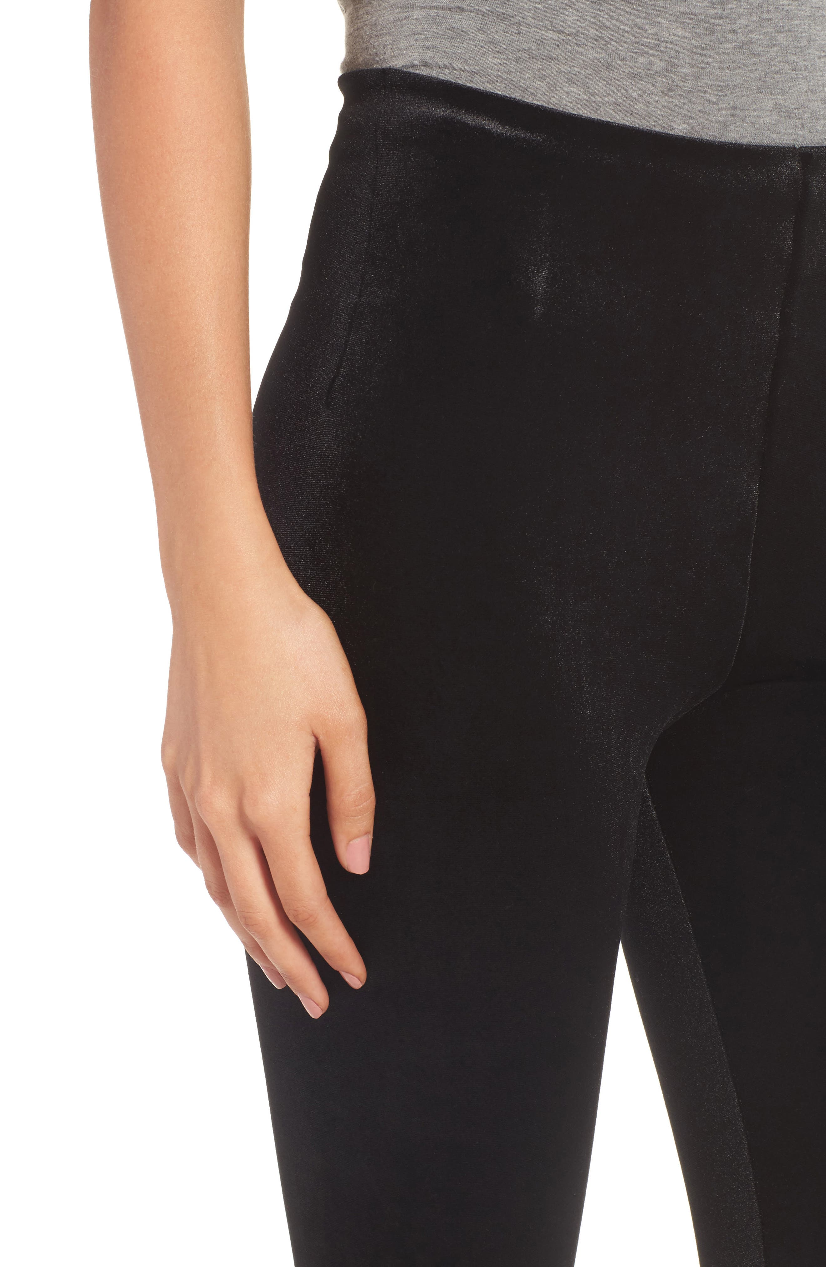 Perfect Control Top Velvet Leggings,                             Alternate thumbnail 4, color,                             BLACK