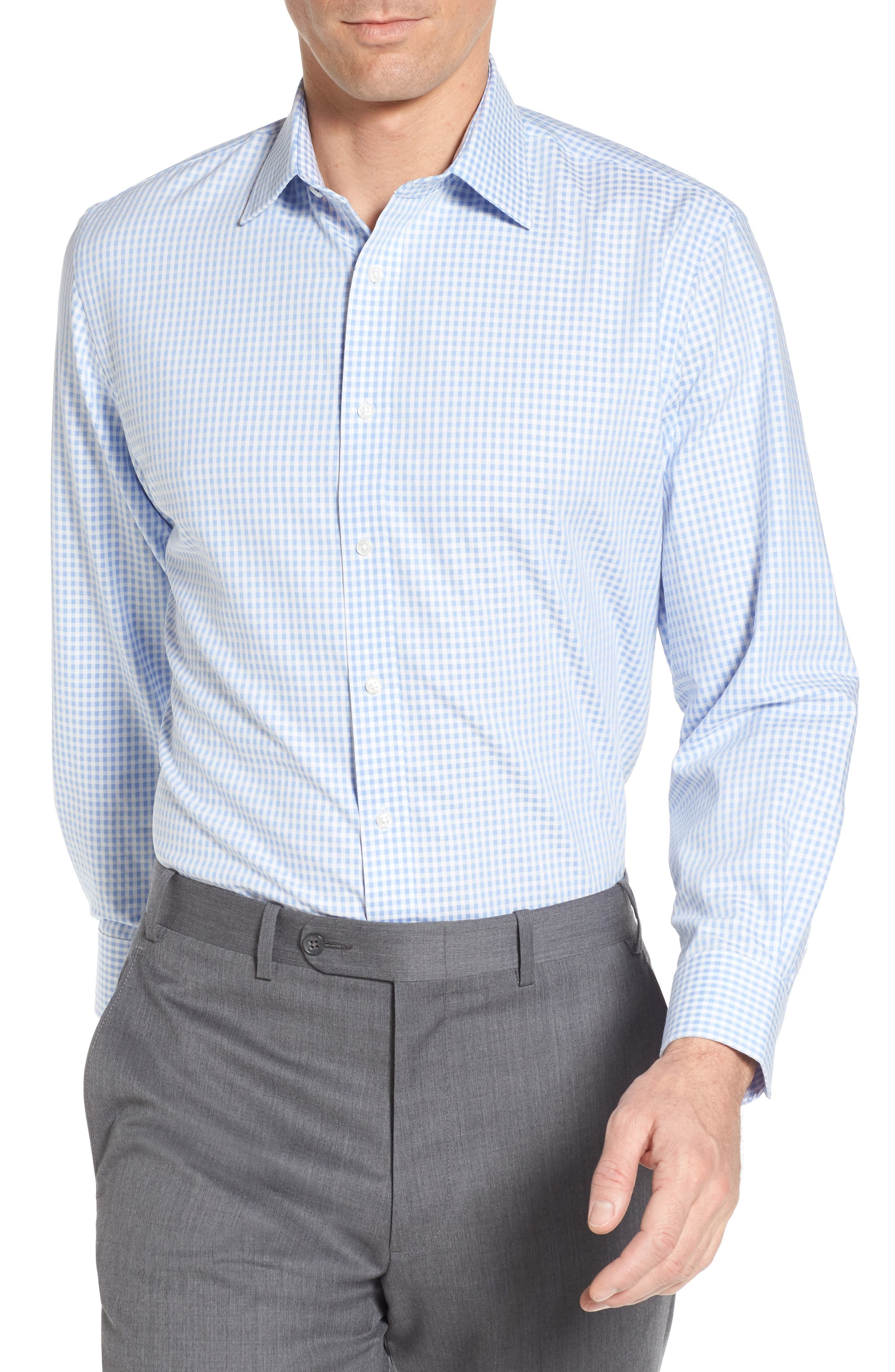 Tech-Smart Traditional Fit Stretch Check Dress Shirt,                         Main,                         color, 450