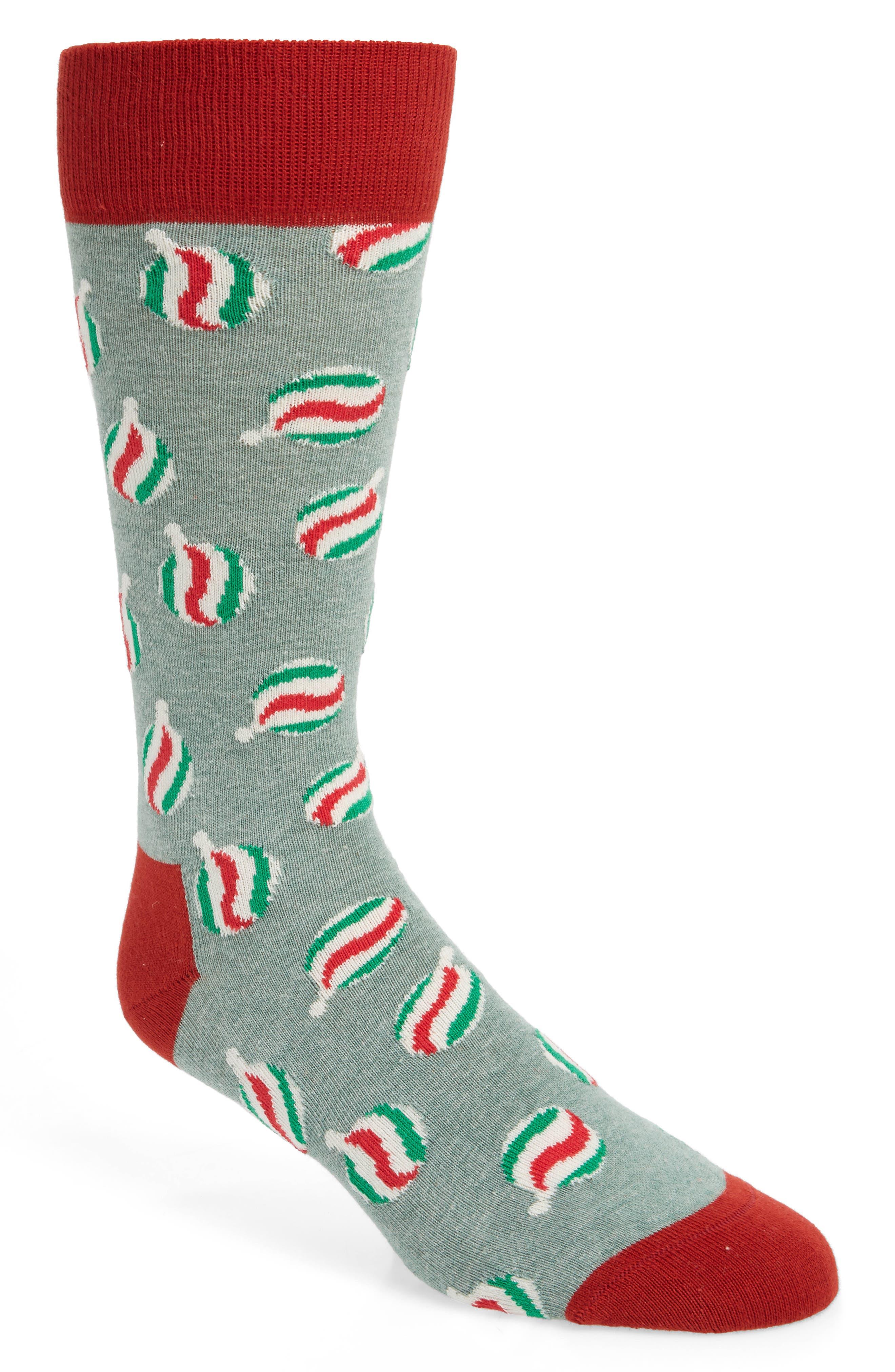Holiday Bauble Socks,                             Main thumbnail 1, color,                             GREY