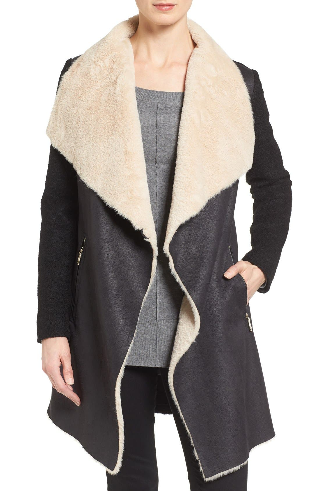 Mixed Media Coat with Faux Shearling Front, Main, color, 001