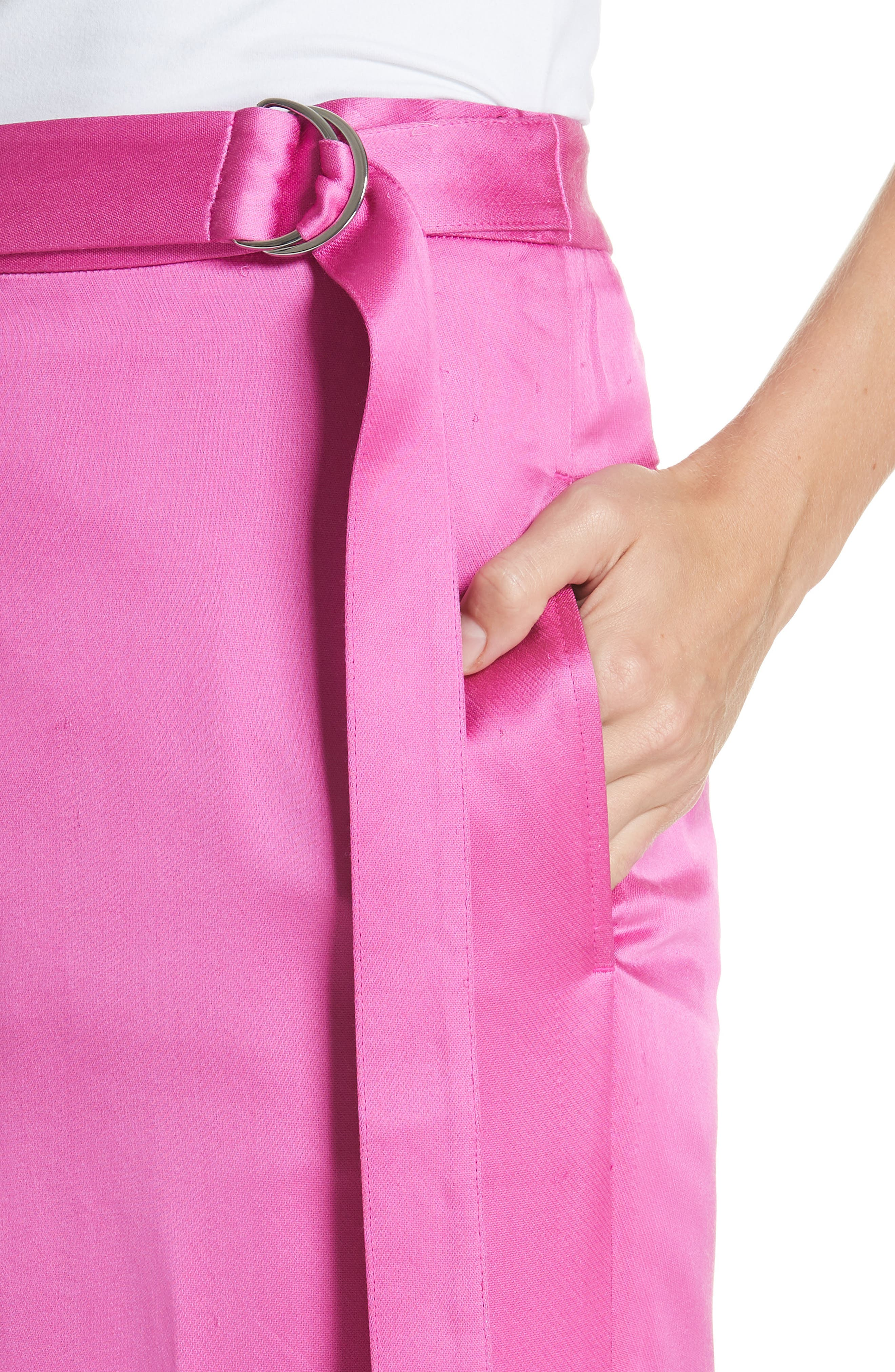High Waist Satin Twill Pants,                             Alternate thumbnail 4, color,                             HOT PINK