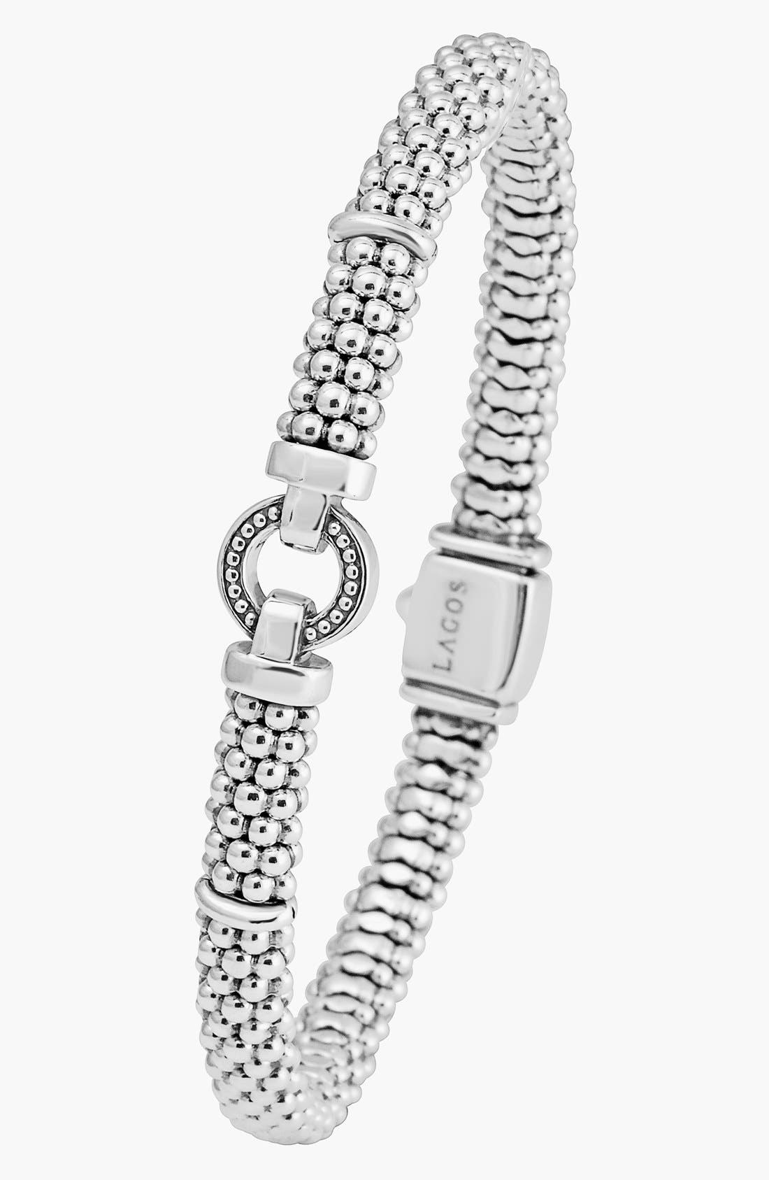 Enso Boxed Circle Station Caviar Rope Bracelet,                             Alternate thumbnail 9, color,                             STERLING SILVER