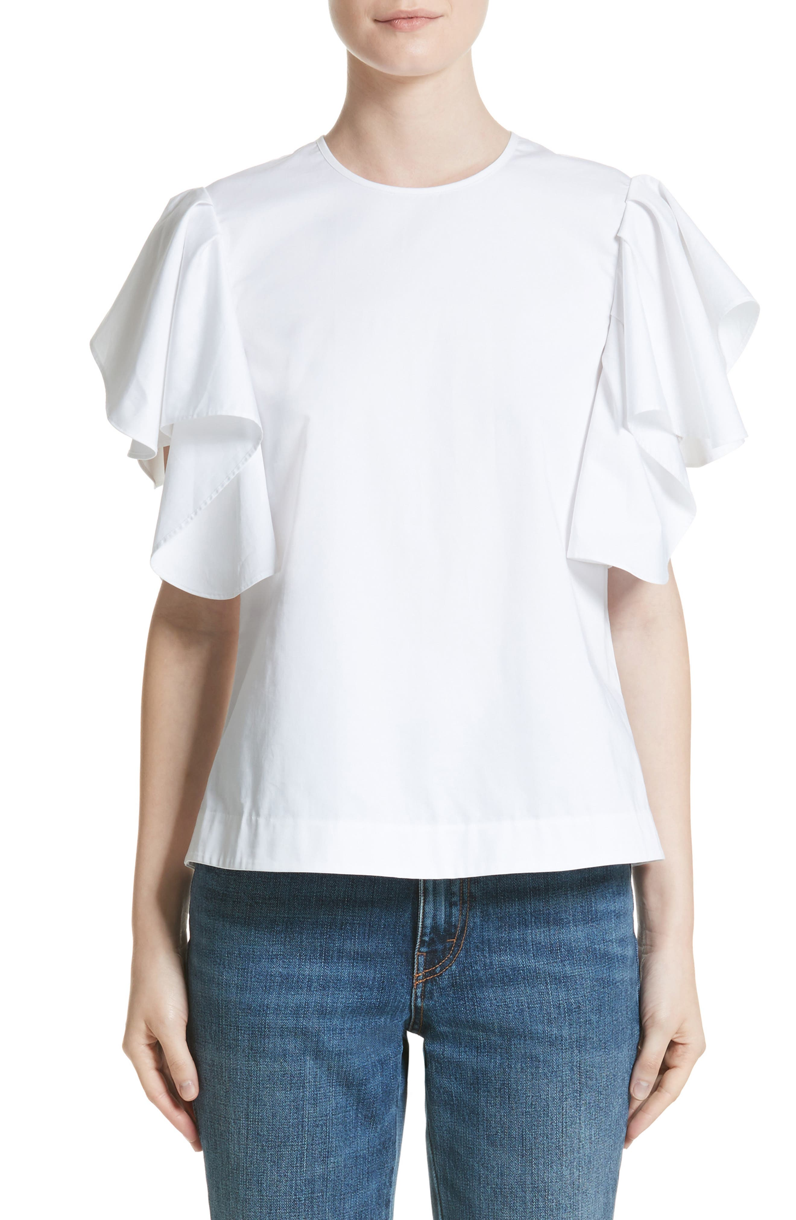 Ruffle Sleeve Cotton Poplin Top,                         Main,                         color, 100