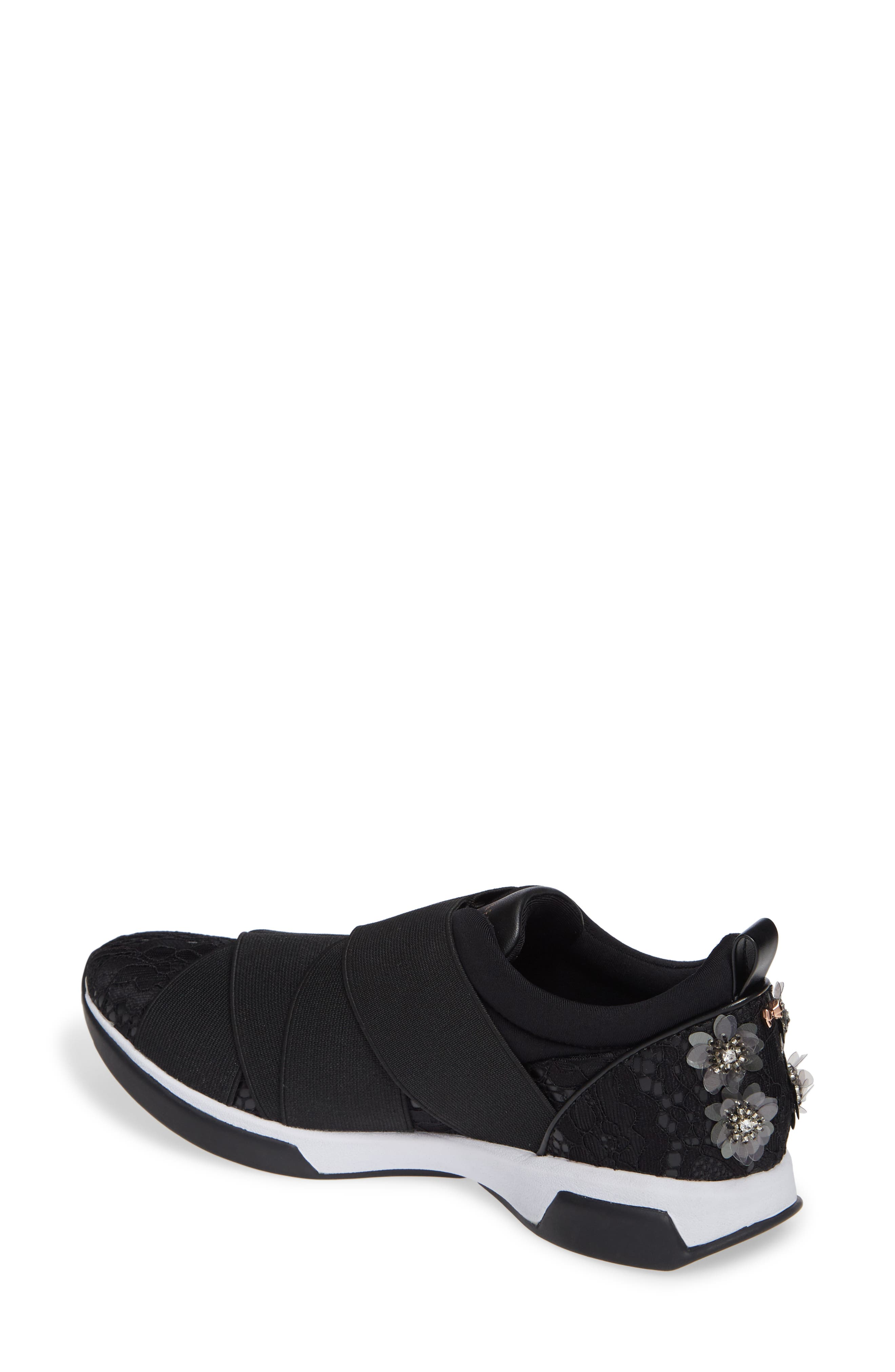 Queanel Sneaker,                             Alternate thumbnail 2, color,                             BLACK FABRIC