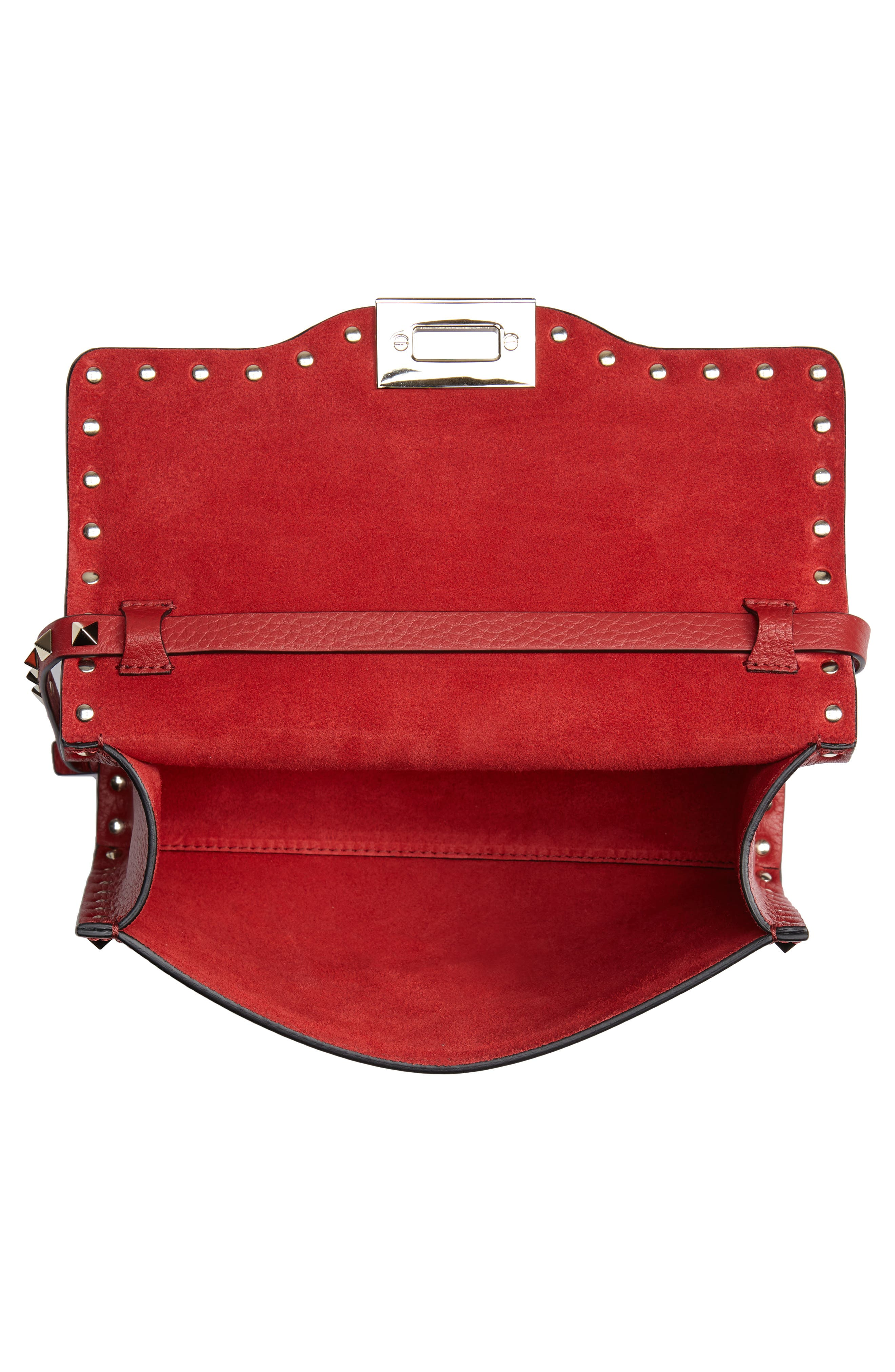 Medium Rockstud Leather Crossbody Bag,                             Alternate thumbnail 4, color,                             ROSSO V