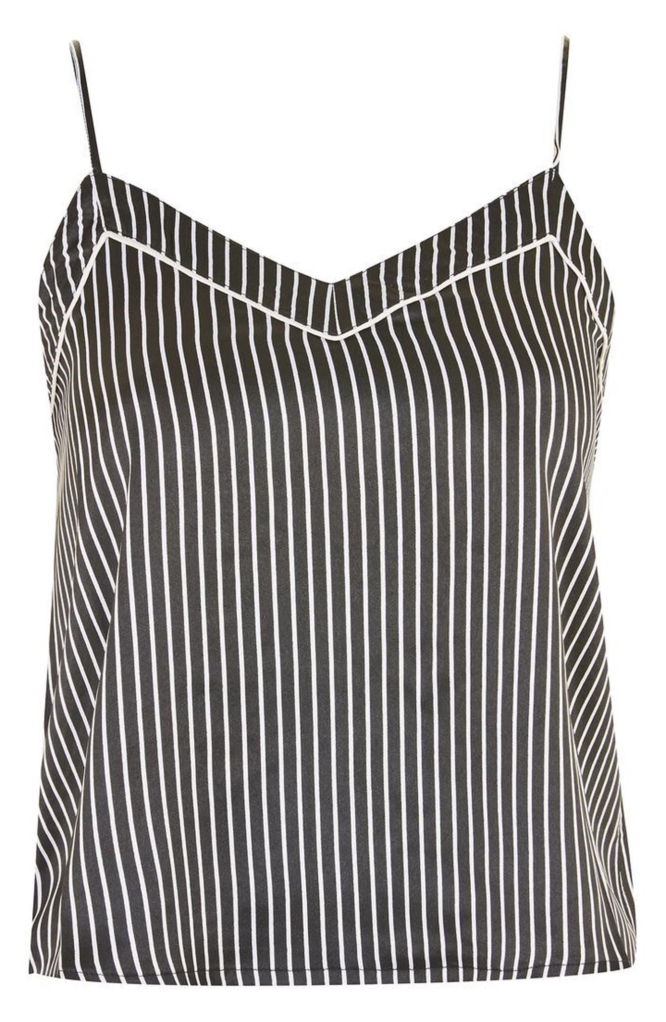 Stripe Satin Camisole Pajama Top,                             Alternate thumbnail 3, color,