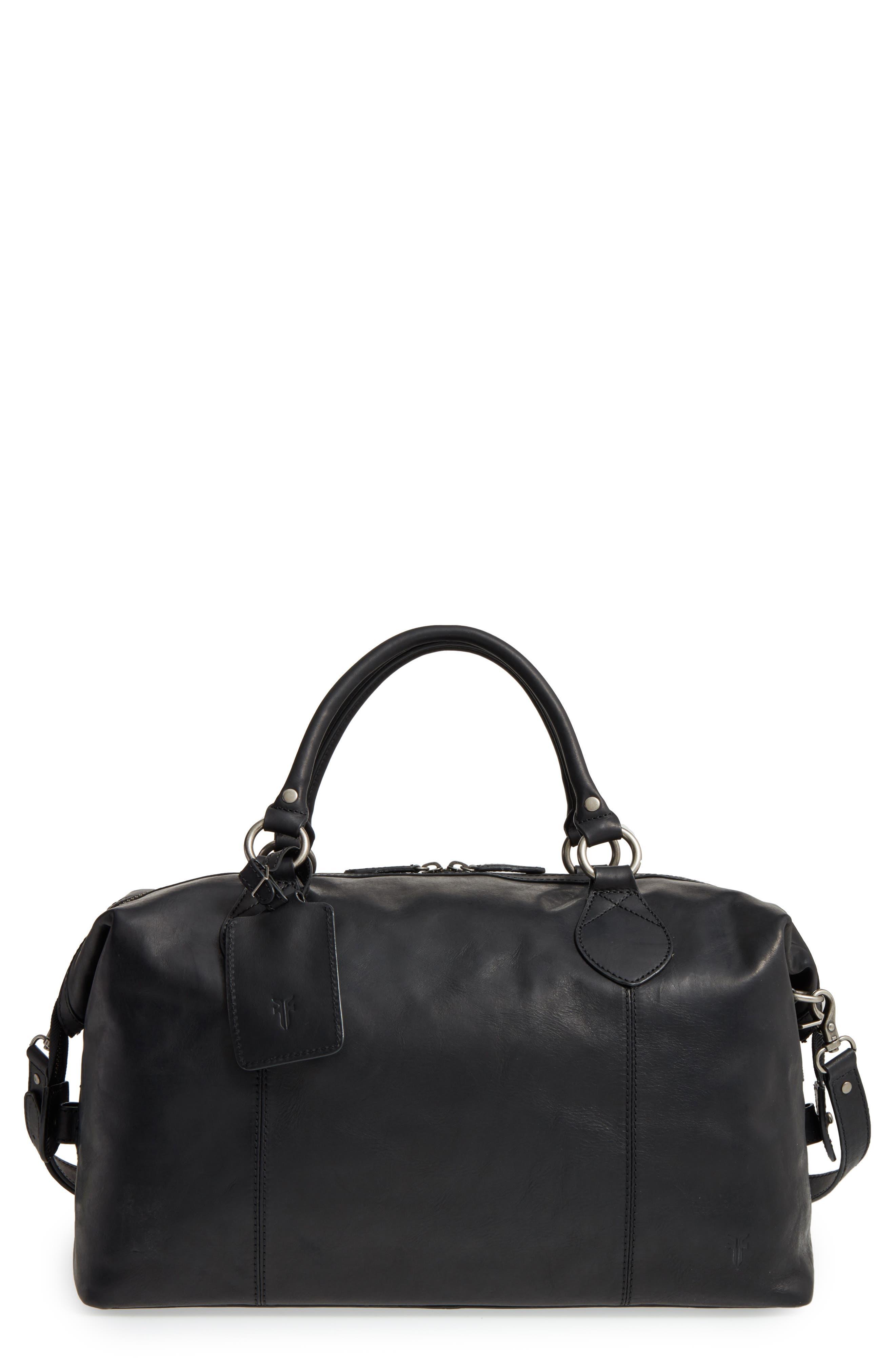 'Logan' Leather Overnight Bag,                             Main thumbnail 1, color,                             001