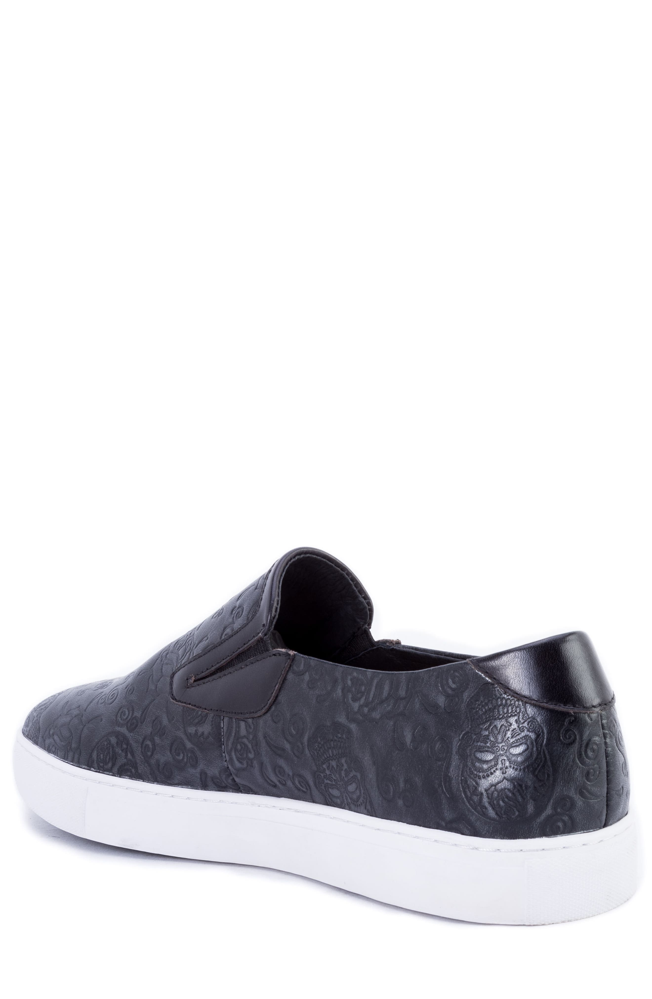 Baxter Embossed Slip-On Sneaker,                             Alternate thumbnail 2, color,                             BLACK LEATHER