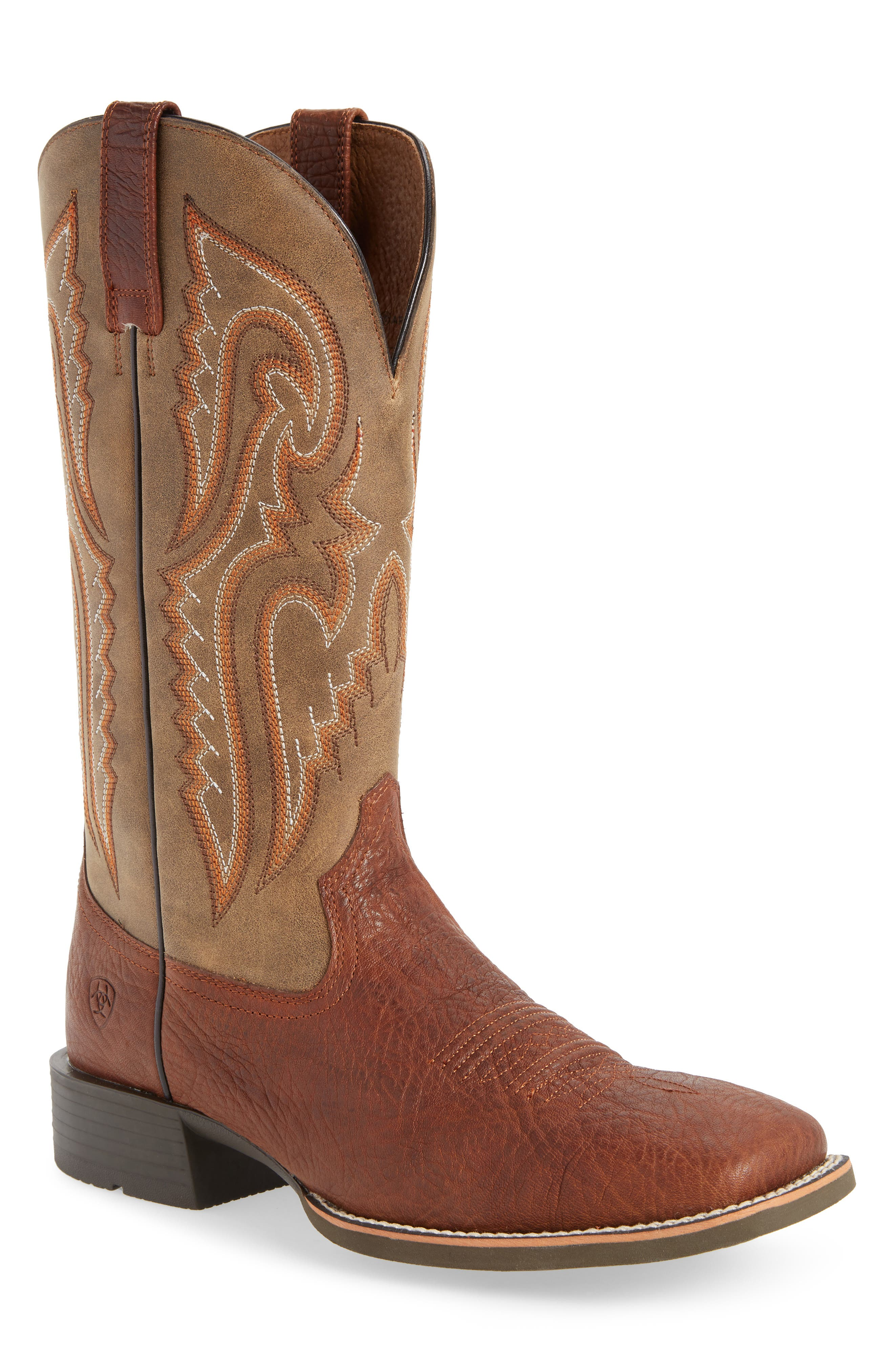 Heritage Latigo Square Toe Cowboy Boot,                             Main thumbnail 1, color,                             COGNAC/ BROWN BOMBER LEATHER