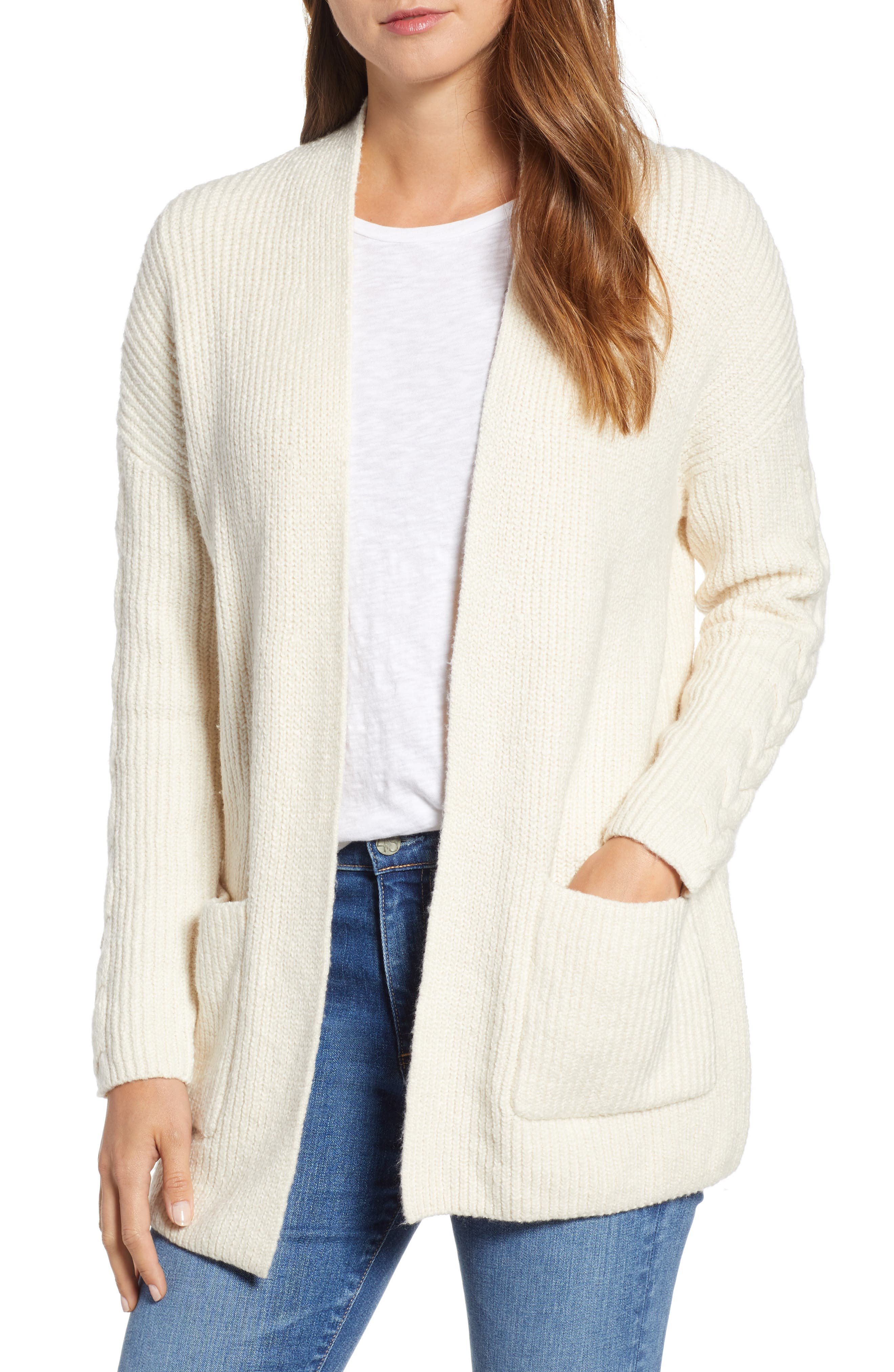 Lucky Brand Venice Cotton Blend Cardigan, White