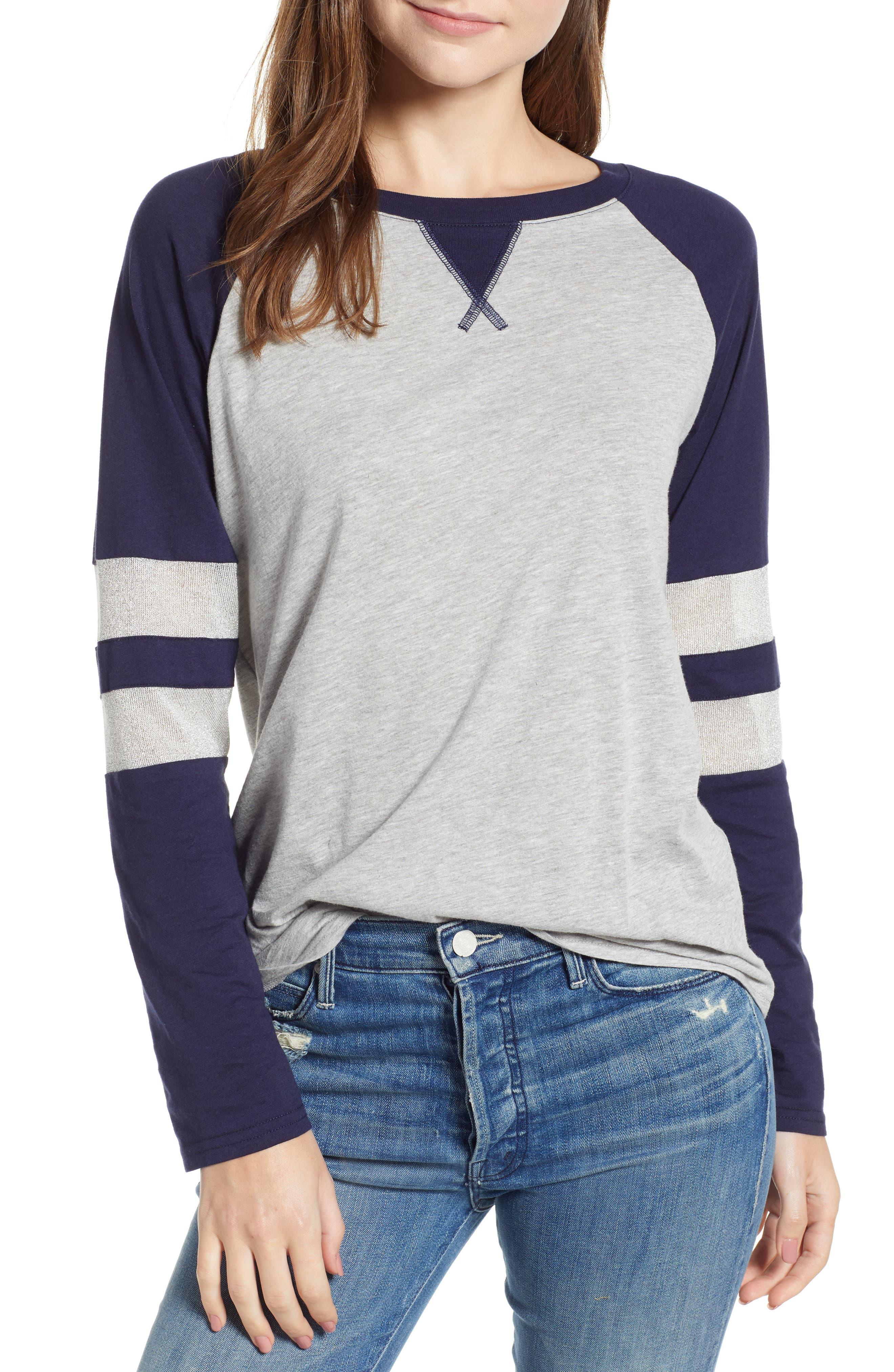 Treasure & Bond Colorblock Cotton Blend Raglan Top, Grey