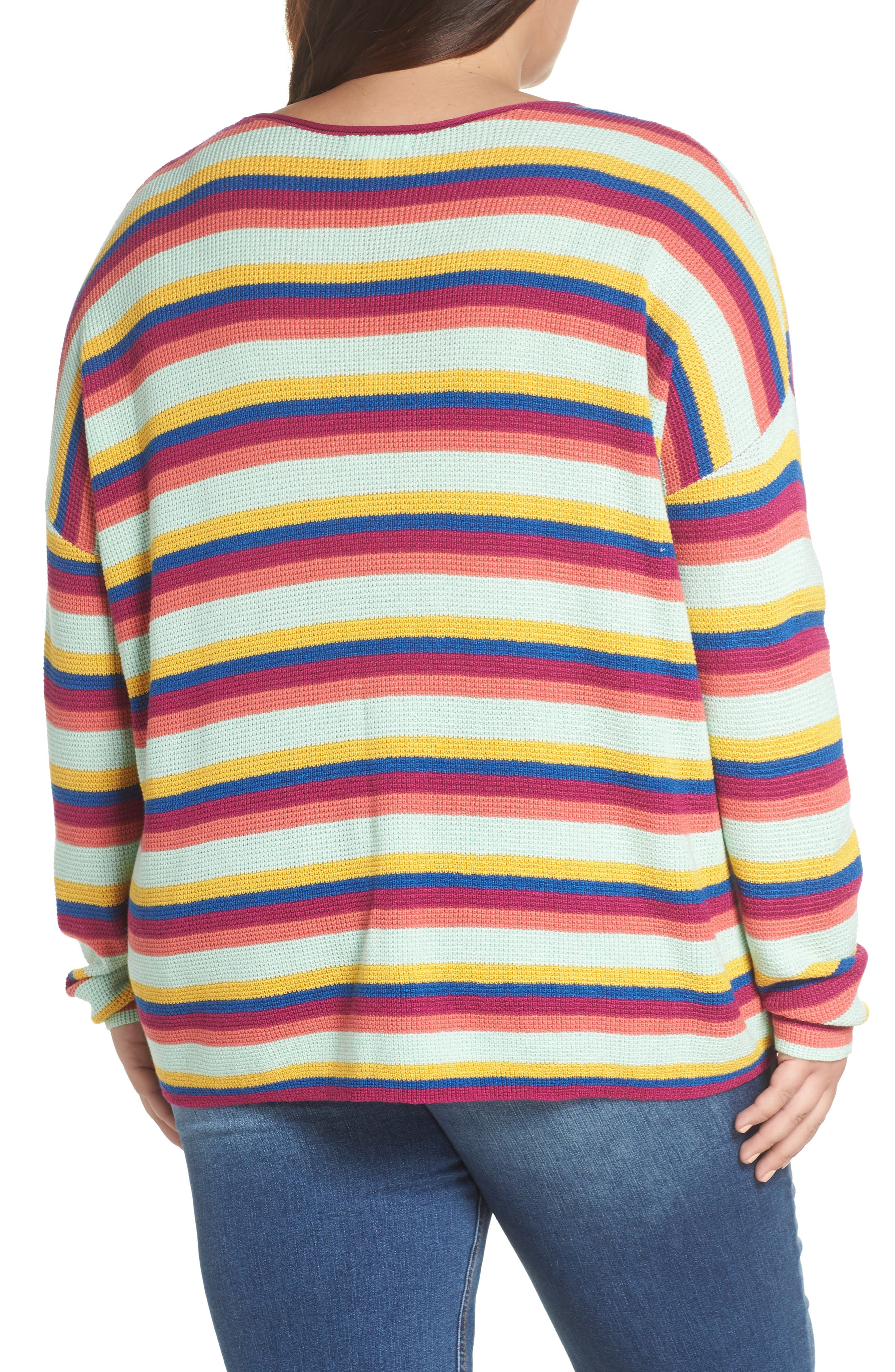 BP.,                             Stripe Thermal Stitch Sweater,                             Alternate thumbnail 8, color,                             PINK YARROW EMMA STRIPE