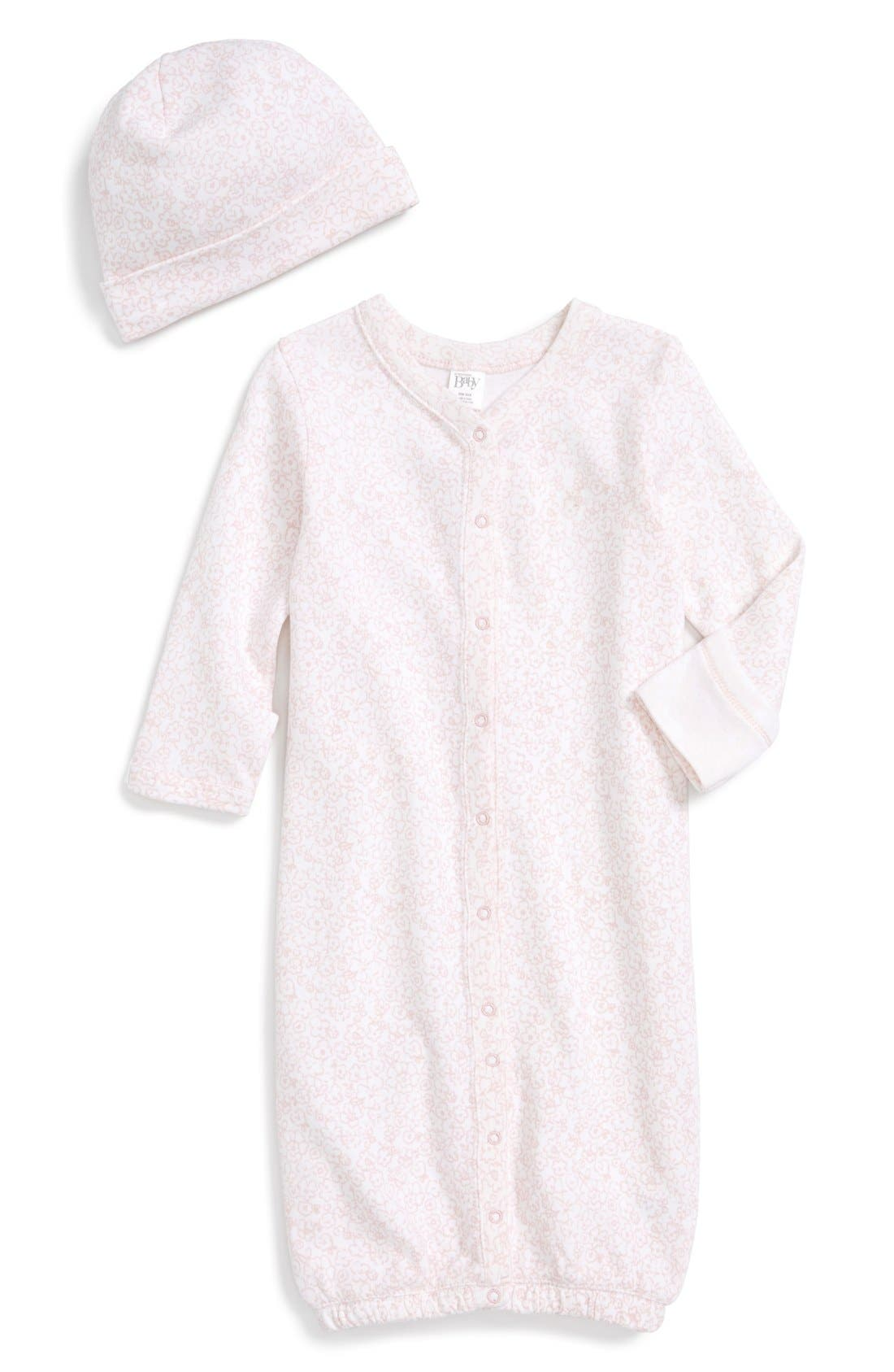 Convertible Gown & Hat Set,                         Main,                         color, PINK BABY FLOWERS
