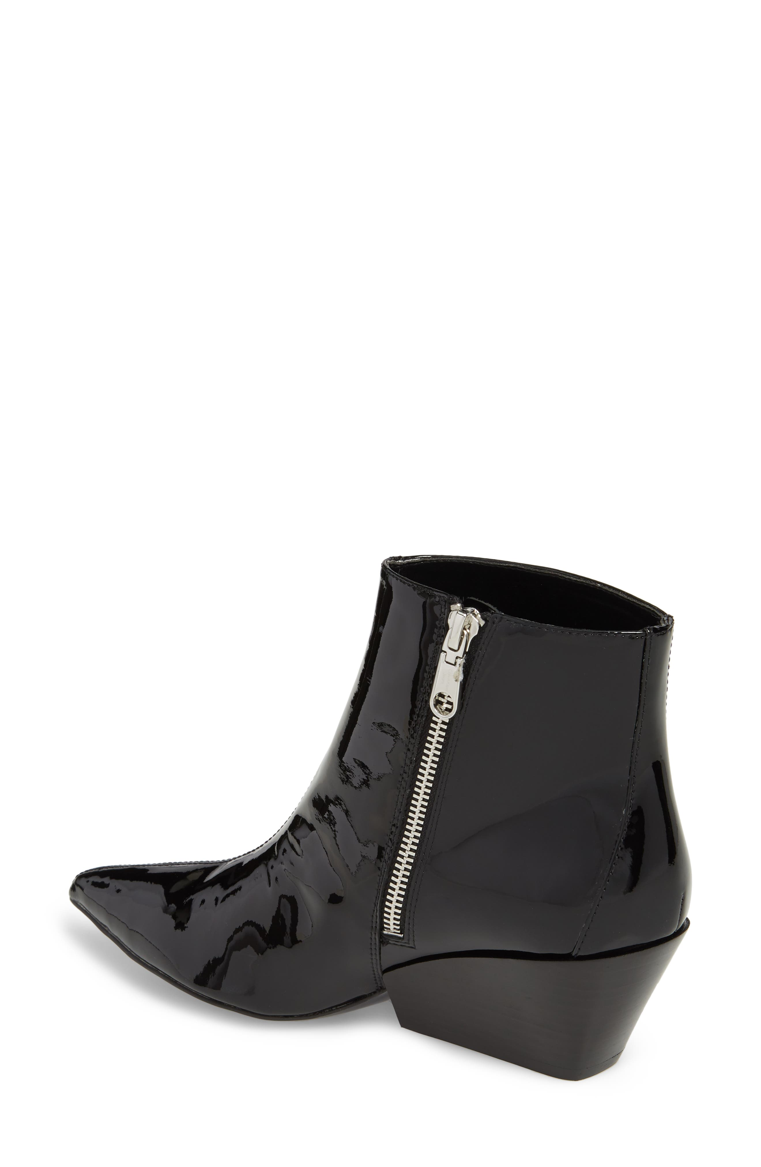Freda Pointy Toe Bootie,                             Alternate thumbnail 2, color,                             BLACK PATENT