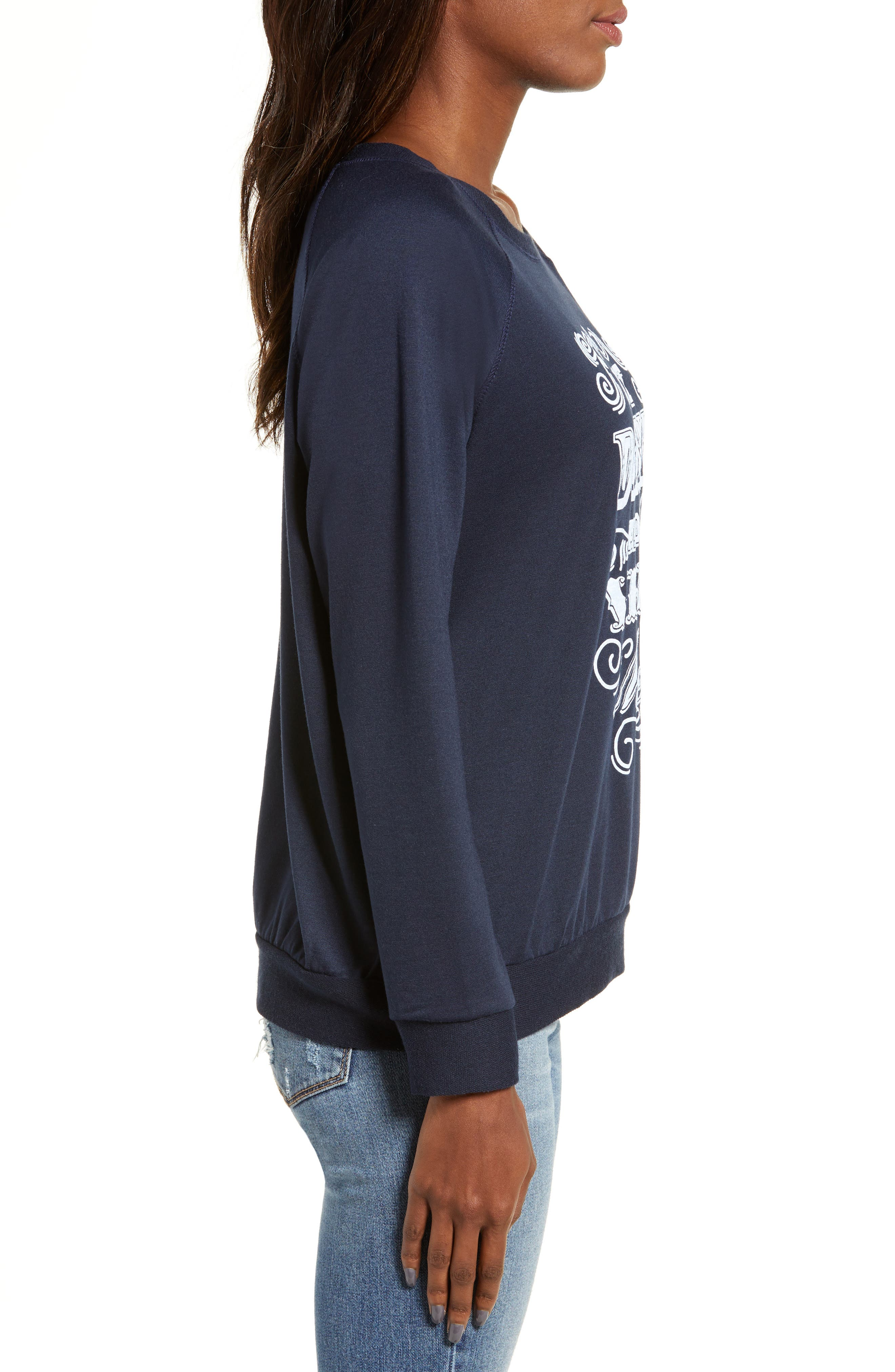Eat, Drink & Be Merry Pullover,                             Alternate thumbnail 3, color,                             NAVY