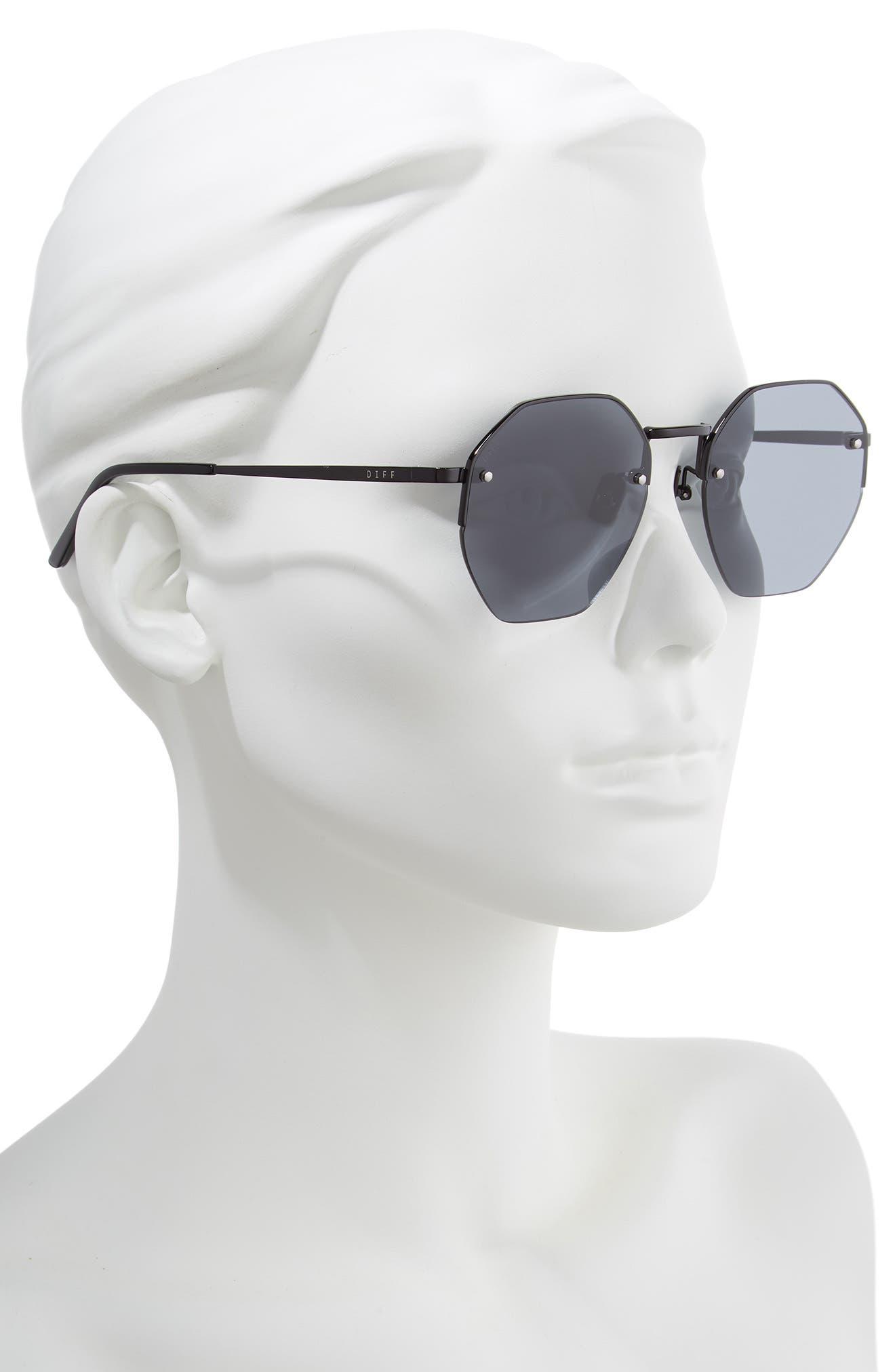 Nova 50mm Polarized Semi Rimless Geo Sunglasses,                             Alternate thumbnail 2, color,                             BLACK/ SMOKE