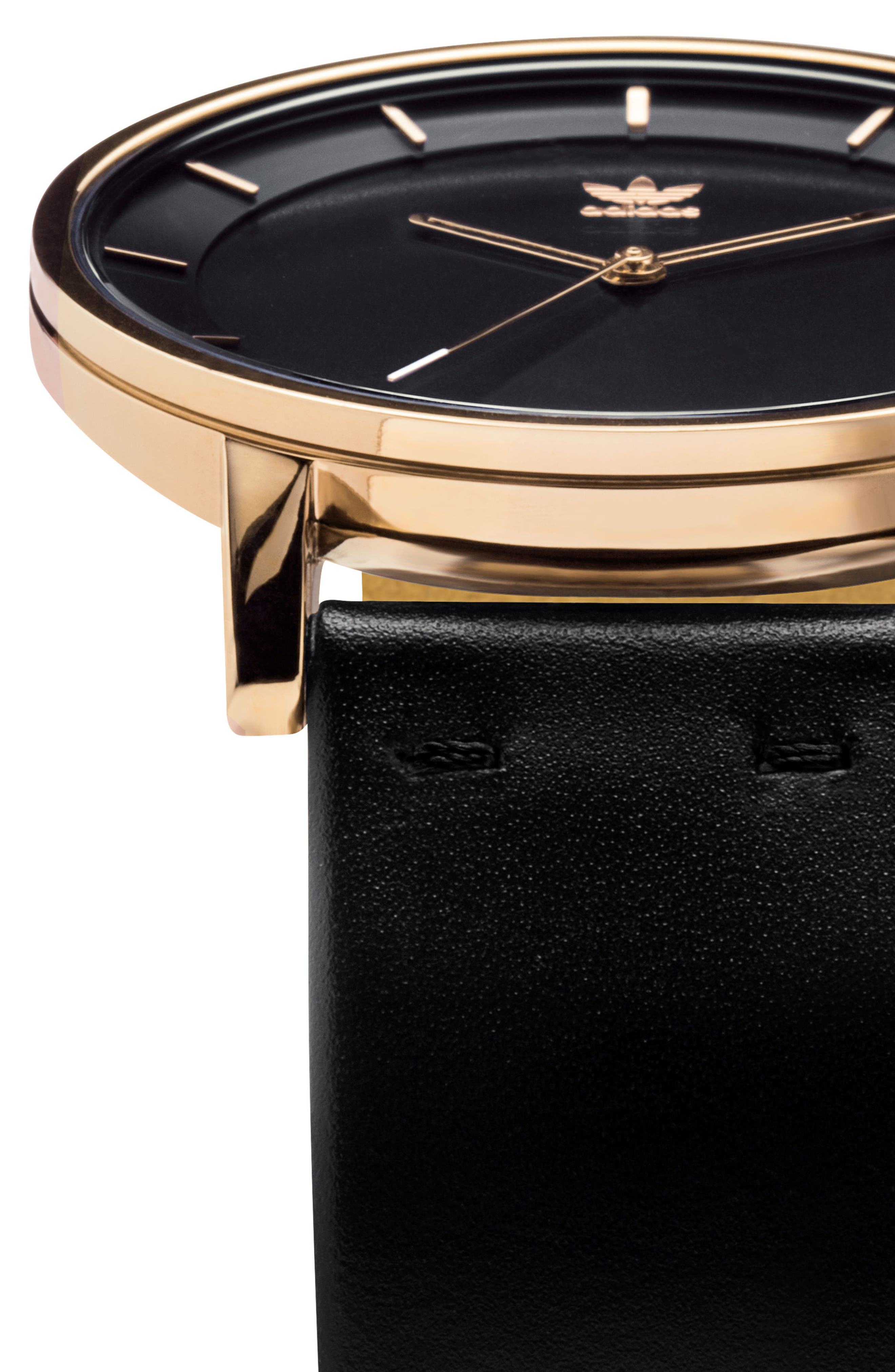 District Leather Strap Watch, 40mm,                             Alternate thumbnail 5, color,                             GOLD/ BLACK