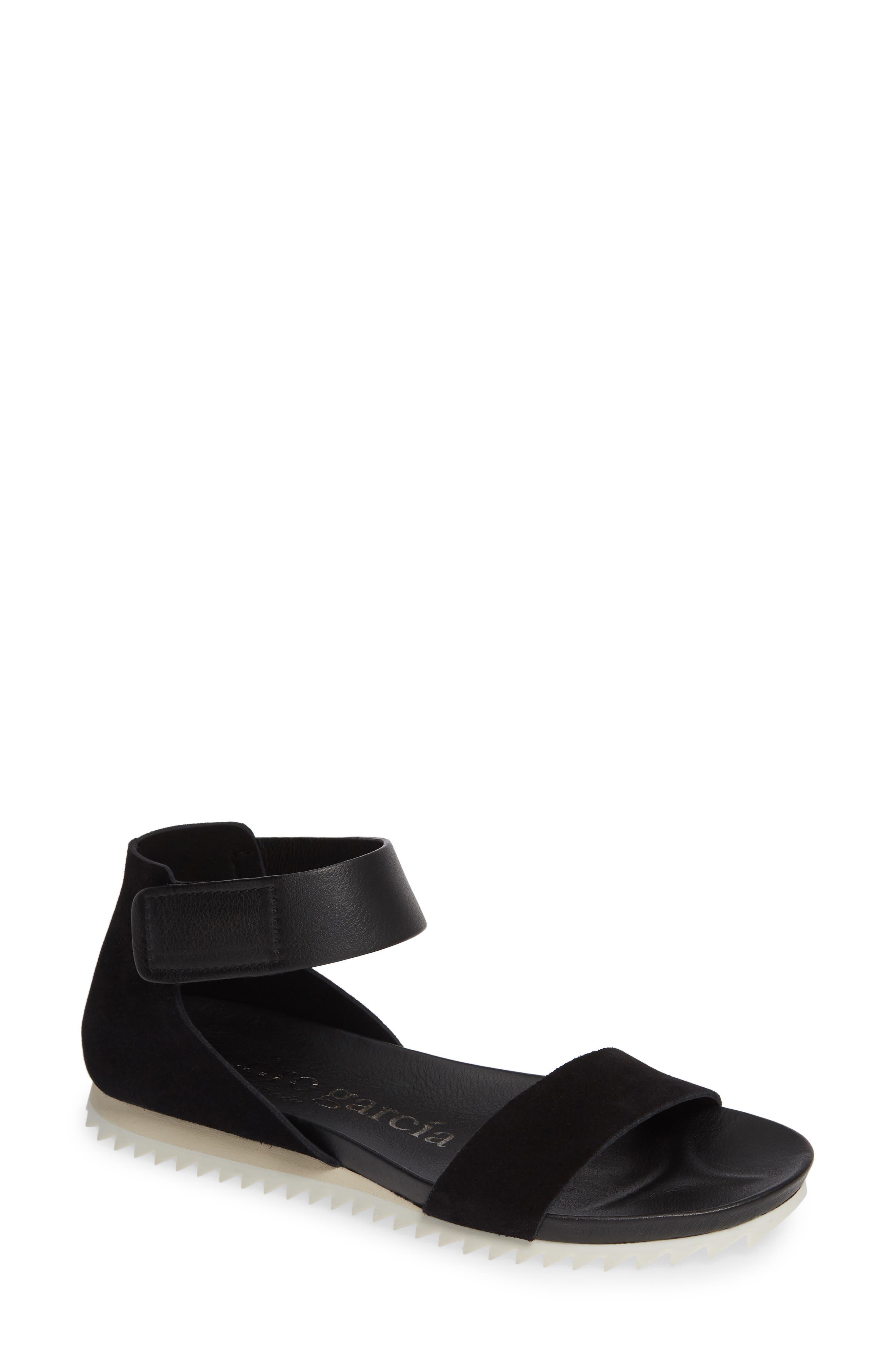 Jenile Ankle Cuff Sandal,                             Main thumbnail 1, color,                             BLACK CASTORO