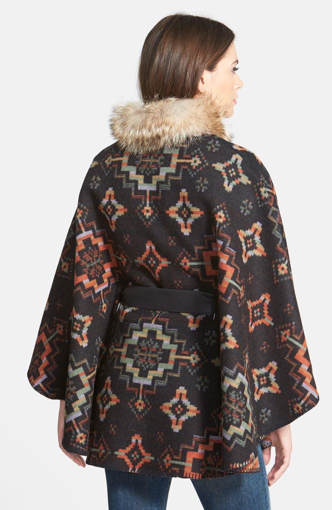 Blanket Cape with Genuine Coyote Fur,                             Alternate thumbnail 2, color,                             003