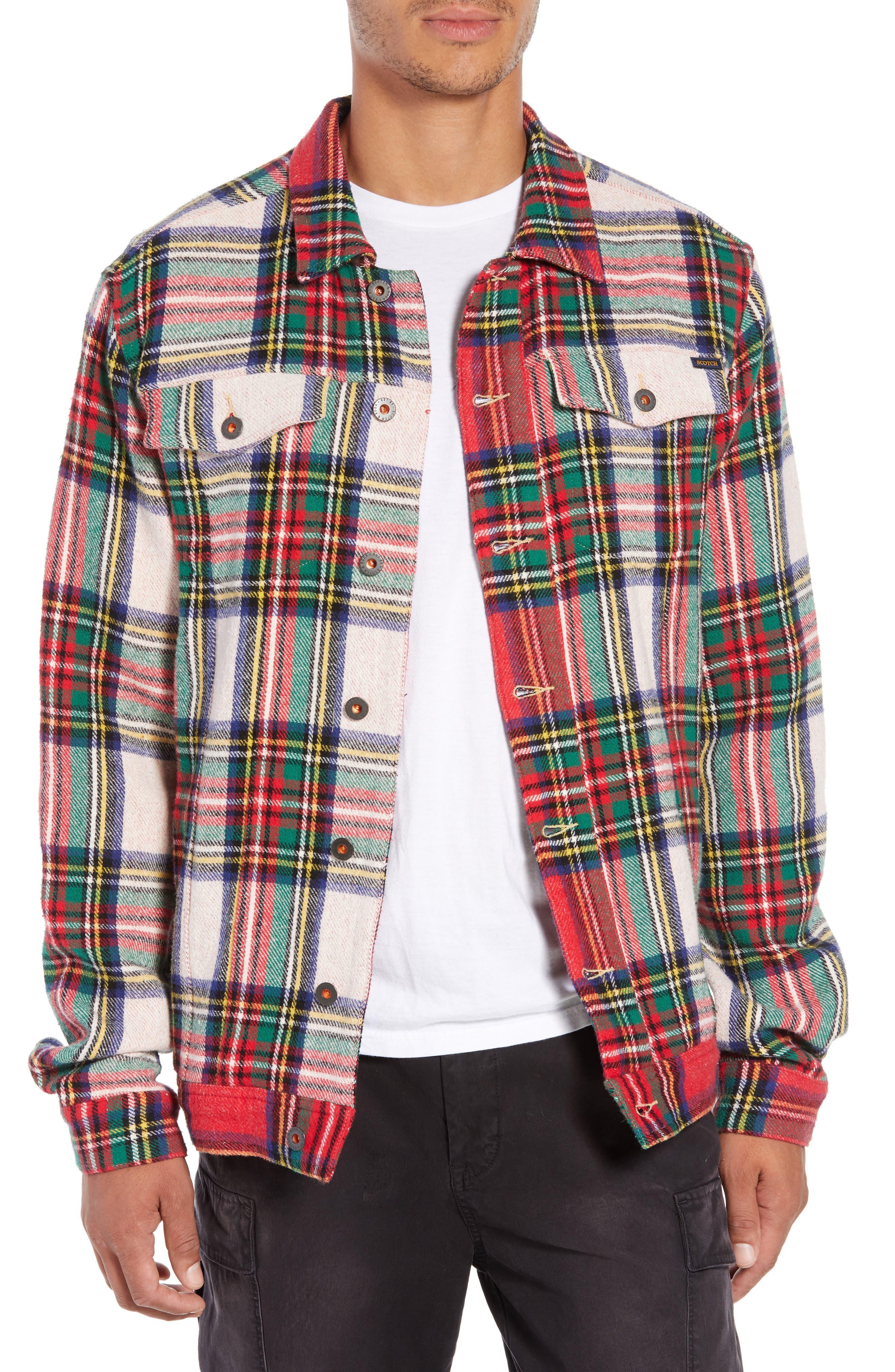 Tartan Plaid Trucker Jacket,                         Main,                         color, COMBO A