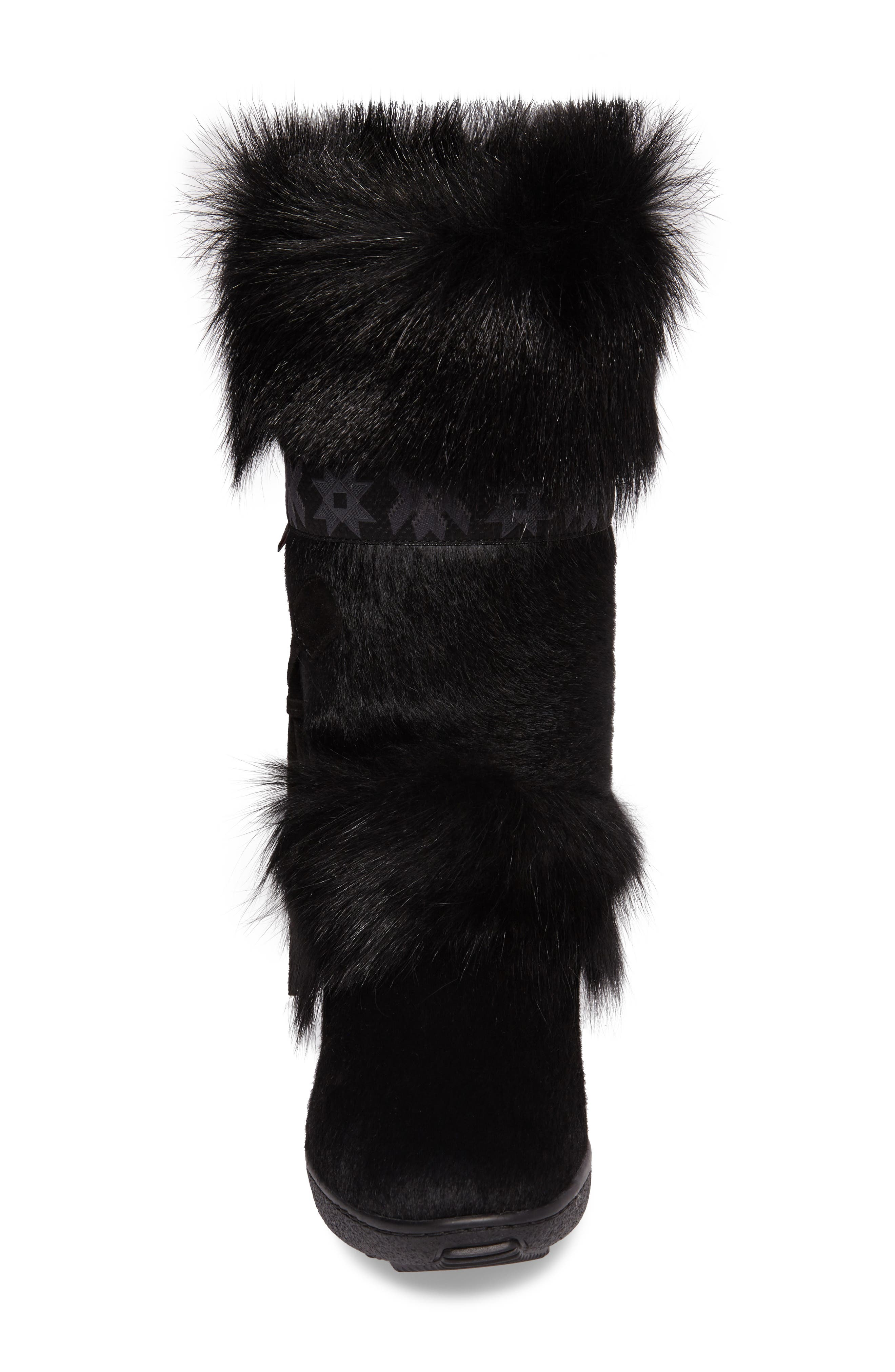 Laura Genuine Goat Fur Waterproof Boot,                             Alternate thumbnail 4, color,                             001
