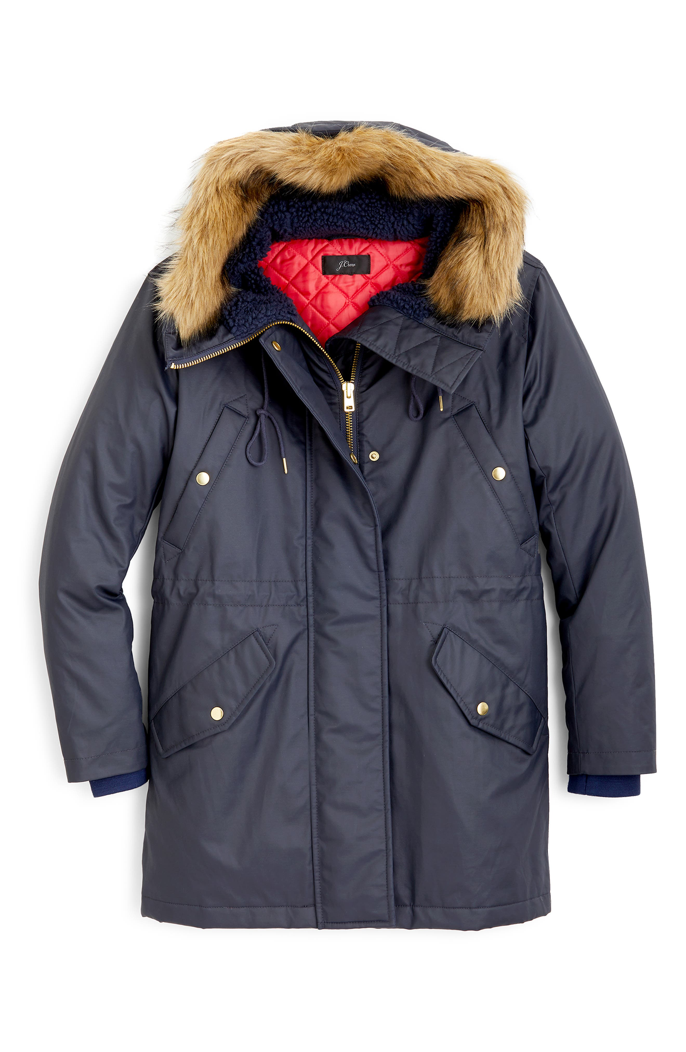 Perfect Winter Parka with Faux Fur Trim,                             Alternate thumbnail 2, color,                             NAVY
