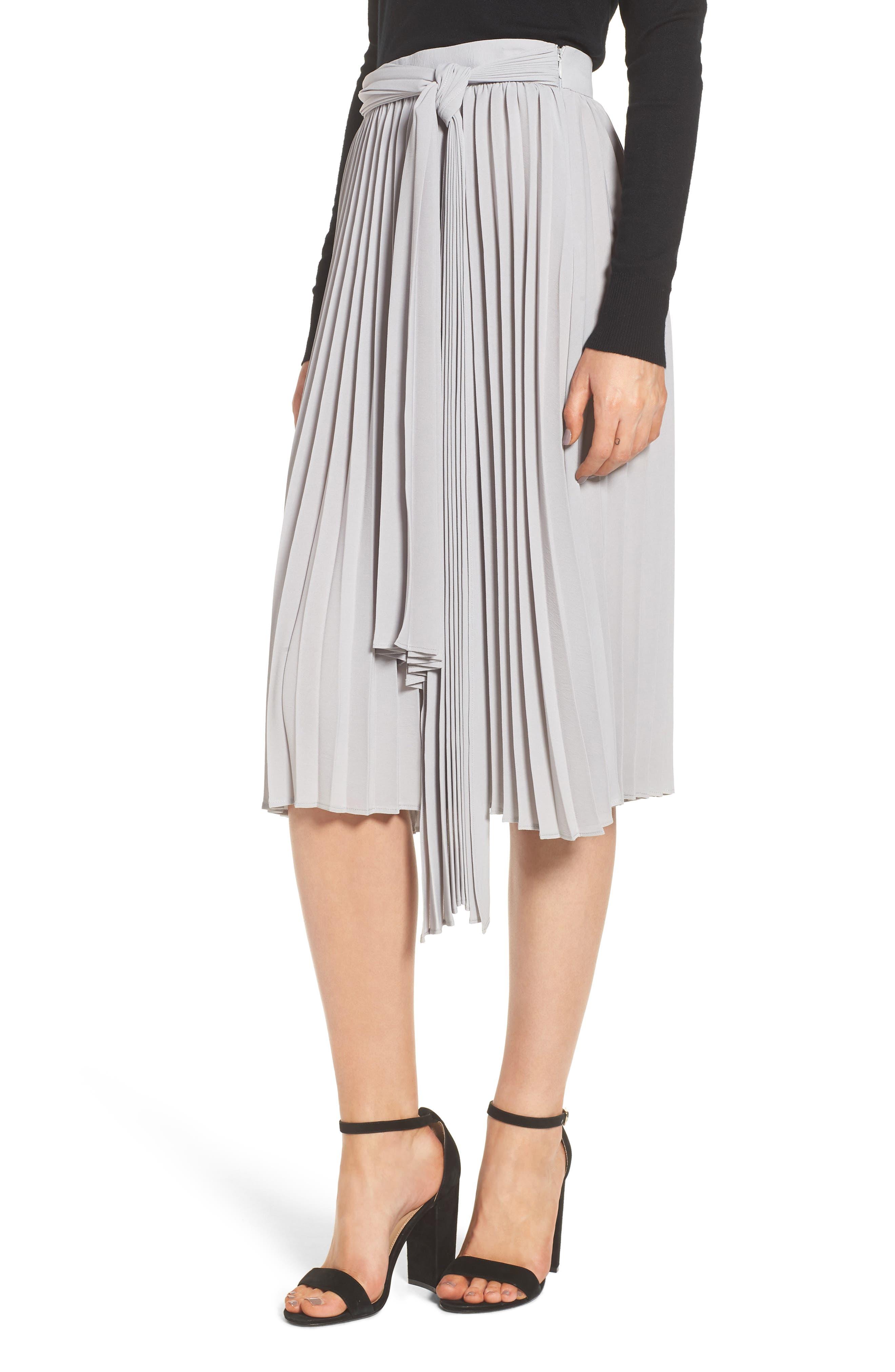 Pleated Midi Skirt,                             Alternate thumbnail 3, color,