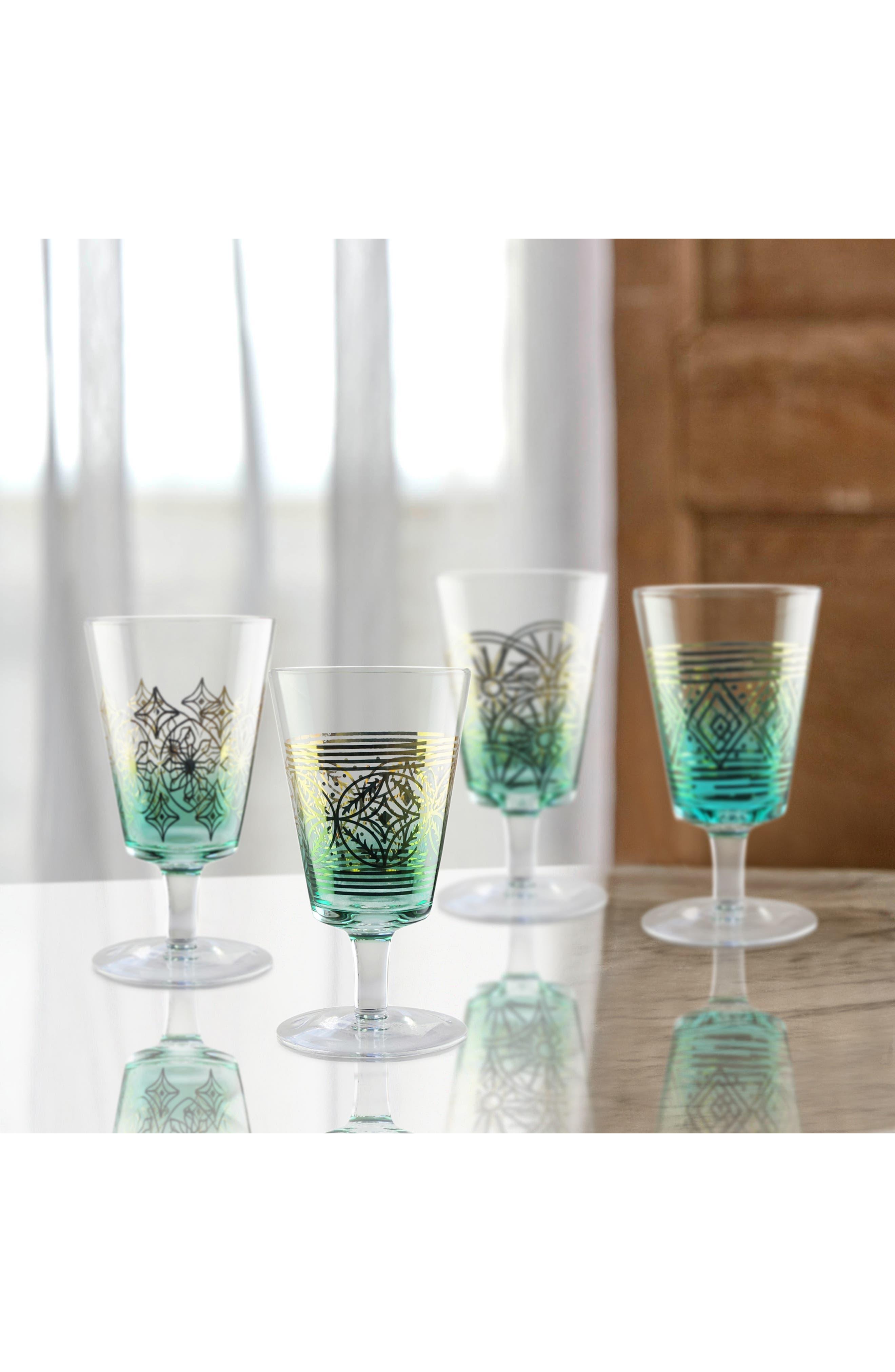 Soirée Set of 4 Wine Glasses,                             Alternate thumbnail 2, color,                             TEAL/ GOLD