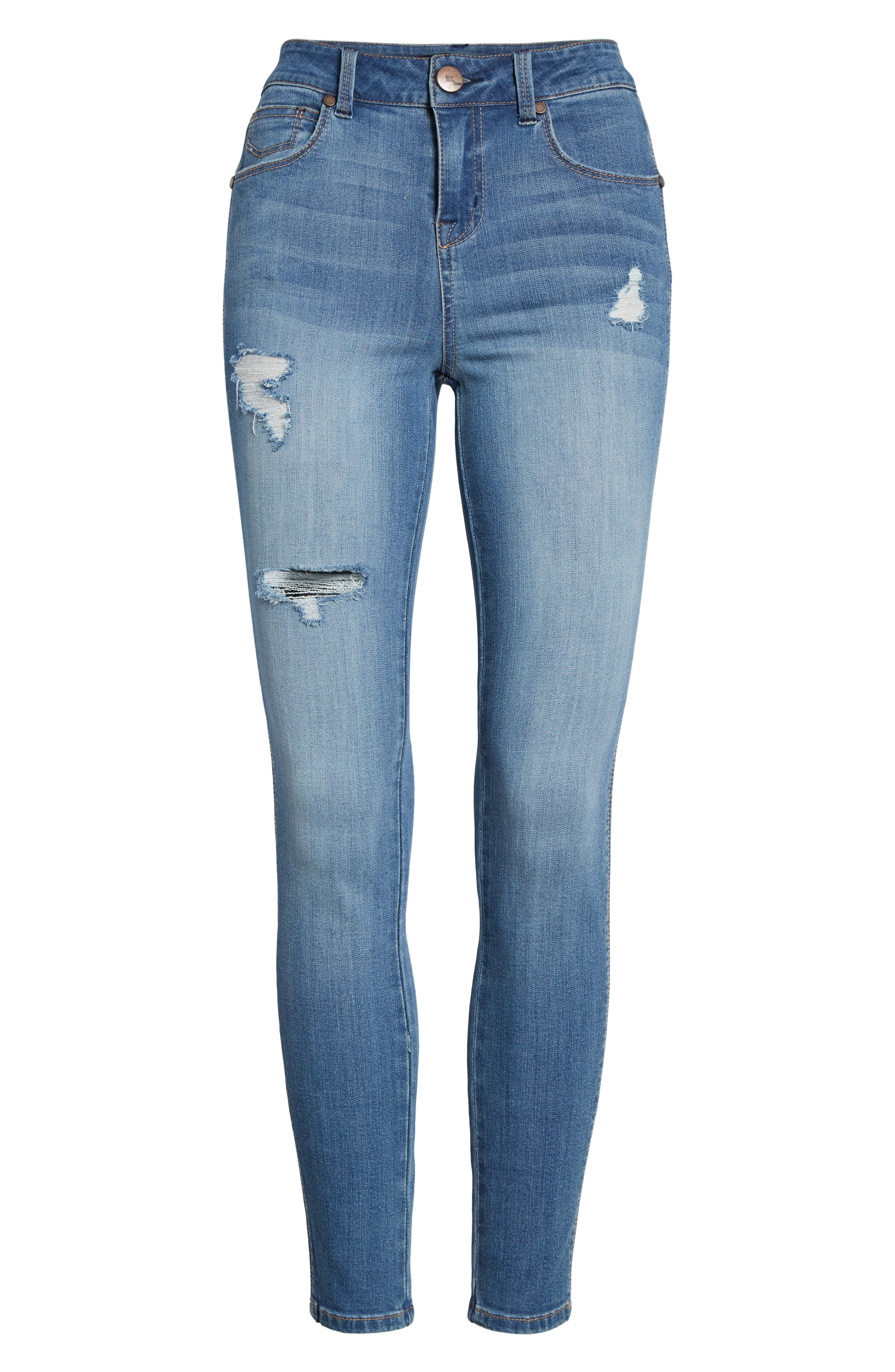 Distressed Skinny Jeans,                             Alternate thumbnail 7, color,                             400